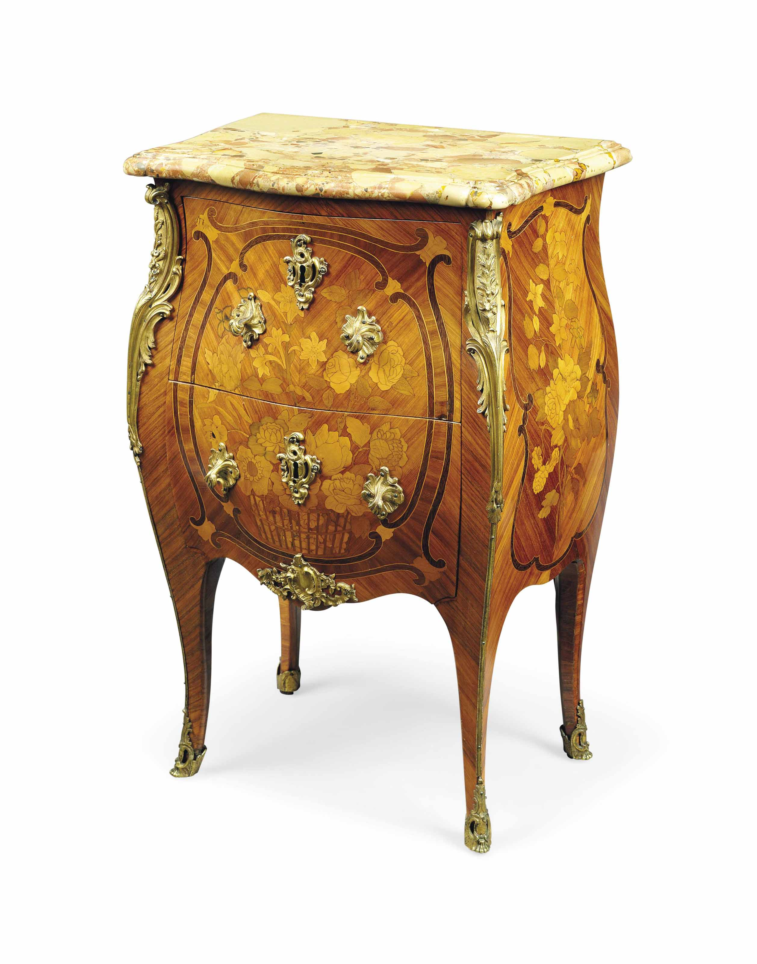 A LOUIS XV ORMOLU-MOUNTED TULIPWOOD, AMARANTH AND FLORAL MARQUETRY BOMBÉ COMMODE