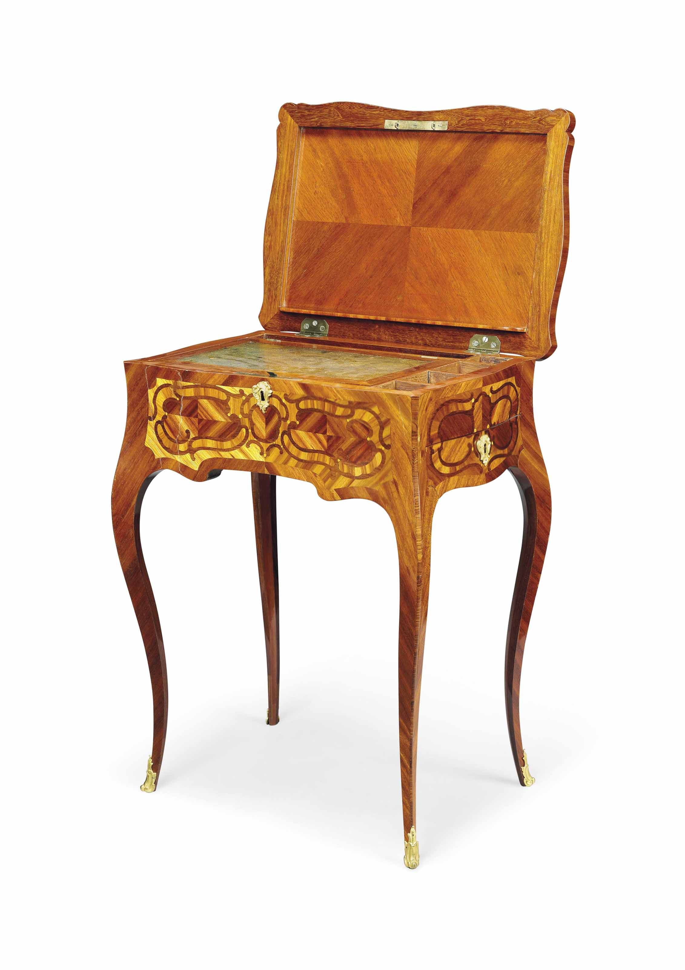 A LOUIS XV ORMOLU-MOUNTED TULIPWOOD, BOIS SATINÉ, AMARANTH AND FLORAL MARQUETRY WRITING TABLE