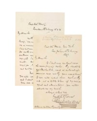 DICKENS, Charles (1812-1870). Two autograph letters signed to the poet and journalist William Cullen Bryant, Carlton House, New York, 14 and 27 February 1842, together 3 pages, 8vo, the second with later annotation to upper margin. Provenance: by descent from the recipient.