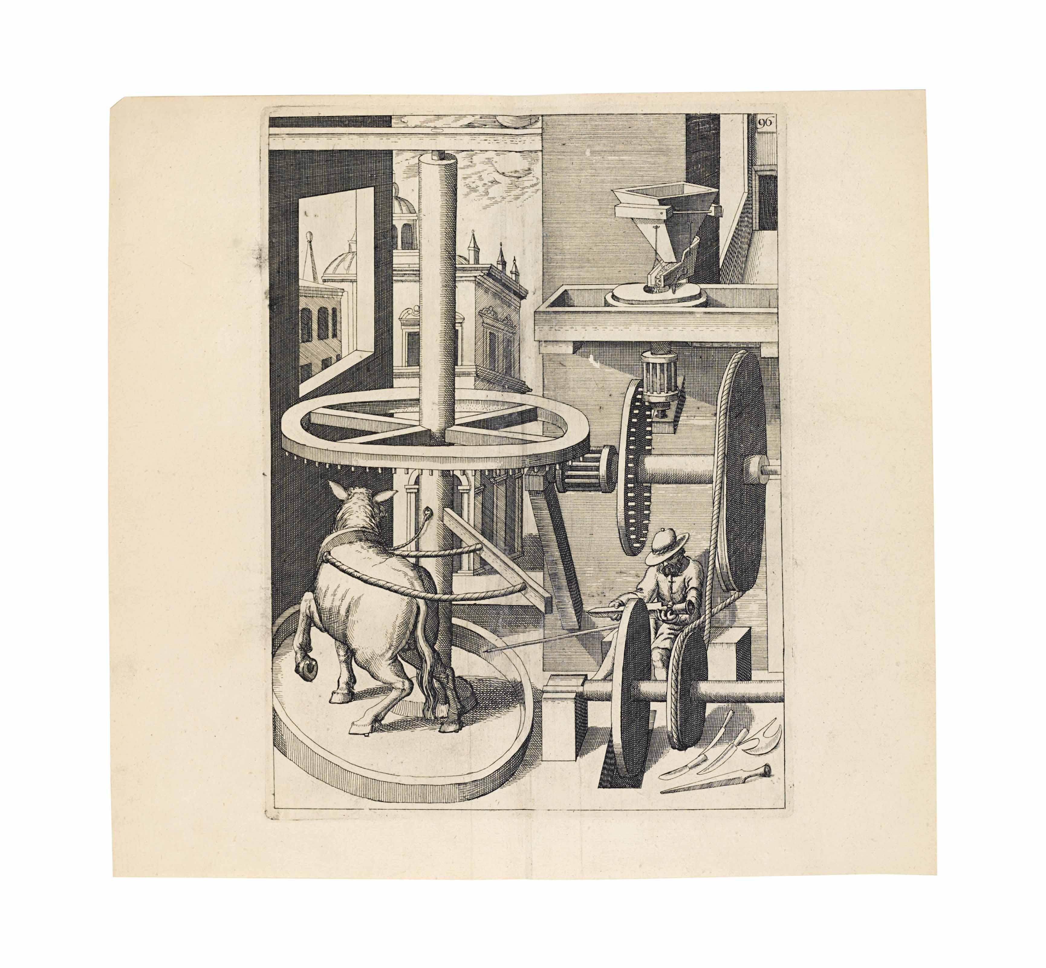 STRADA, Jacobus de (c. 1523-1588) and Octavius de STRADA. Kunstliche Abriss allerhand Wasser, Wind, Ross und Handt Mühlen. Frankfurt: Paul Jacobi for the author, and sold by Lukas Jennis, 1617 - 1618.