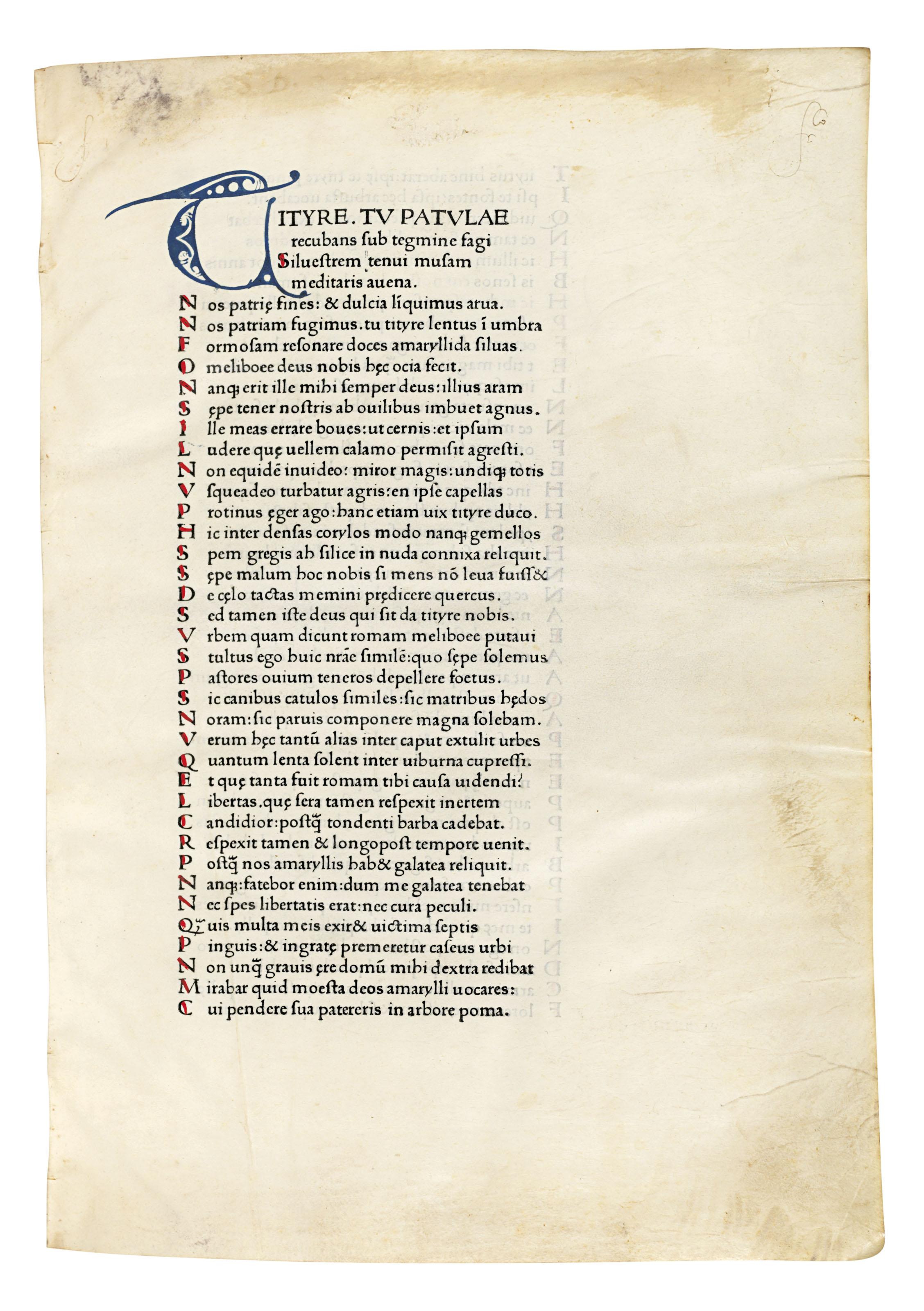 VERGILIUS MARO, Publius (70-19 B.C.). Opera (Bucolica, Georgica, Aeneid, with argumenta). Venice: Vindelinus de Spira, 1470.