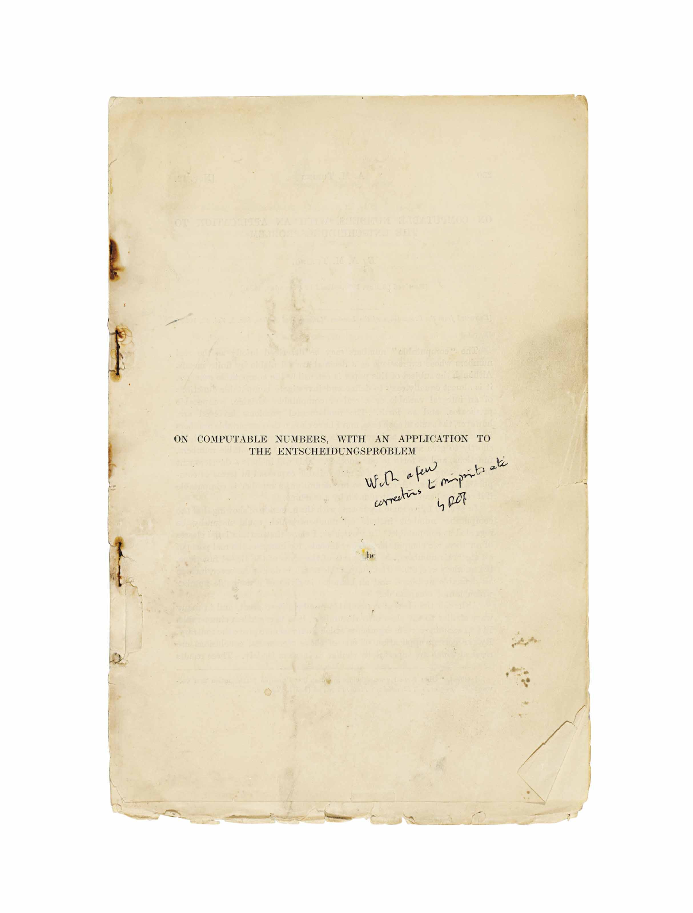 TURING, Alan  'On computable numbers, with an application to