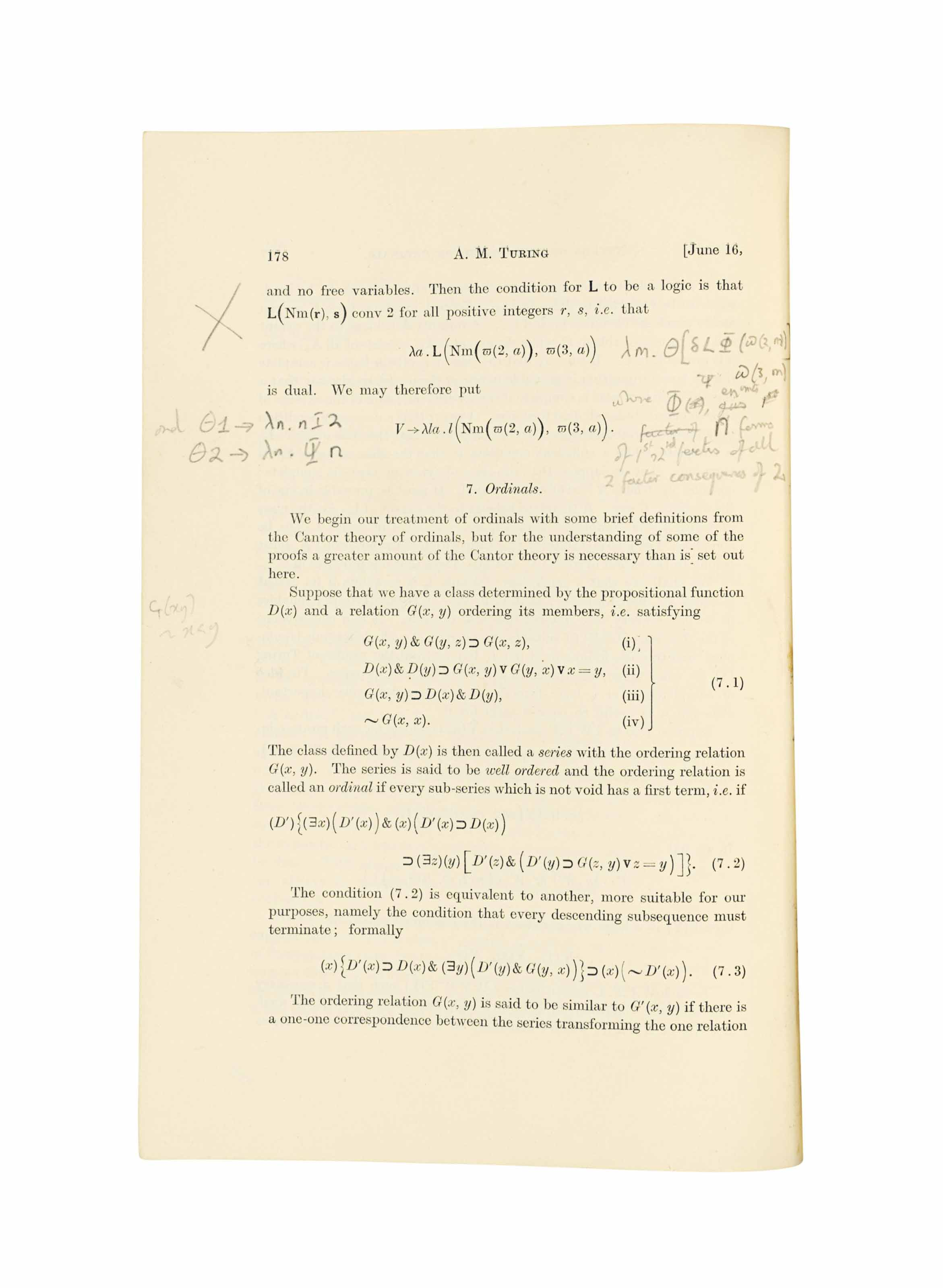 TURING, Alan  'Systems of logic based on ordinals ' Offprint