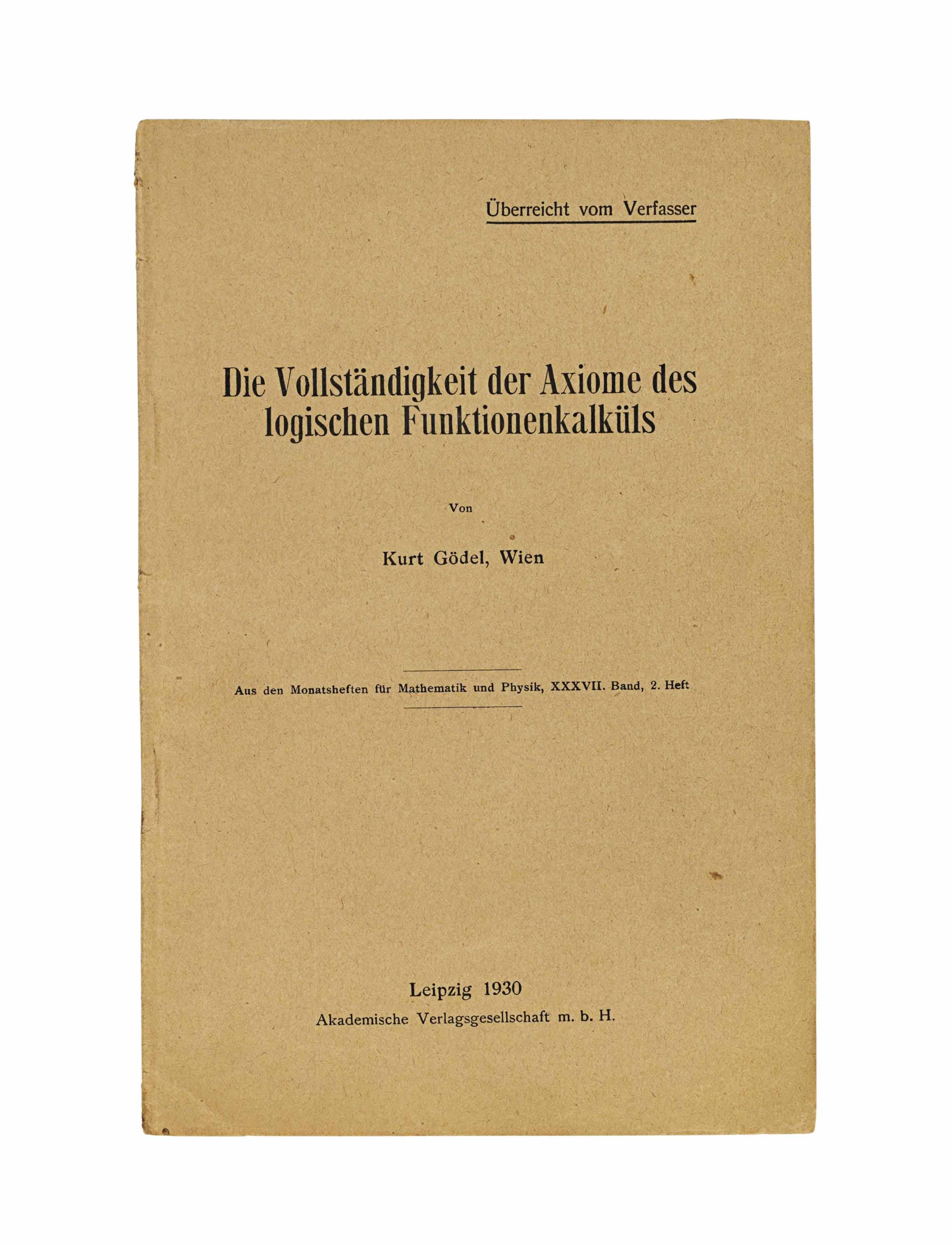 GÖDEL, Kurt (1906-1978). 'Die