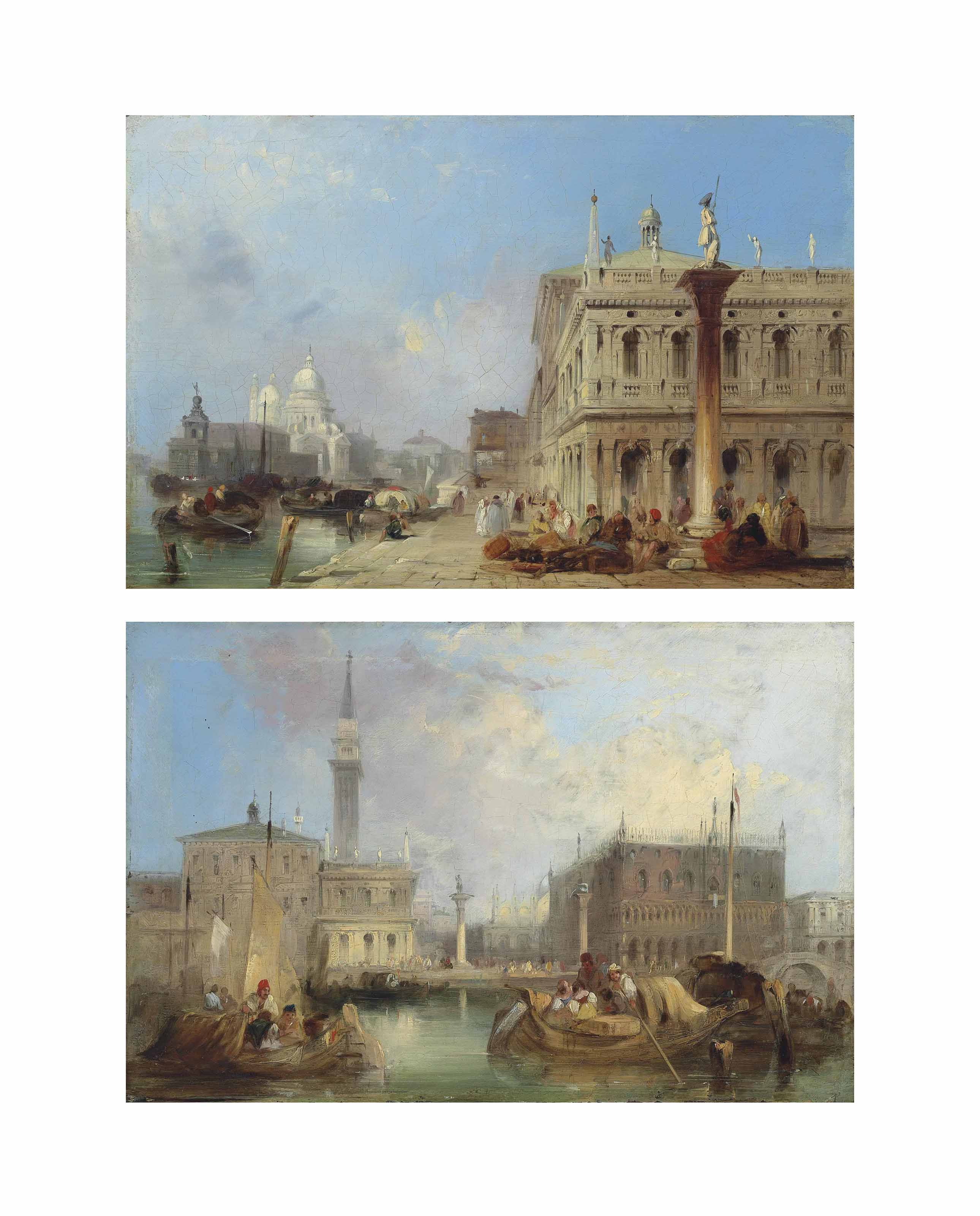 The entrance to the Grand Canal, Venice, from the Piazetta, with the Church of Santa Maria della Salute in the distance; and The Doge's Palace, The Piazetta and the Campanile of St Mark's, seen from the Bacino