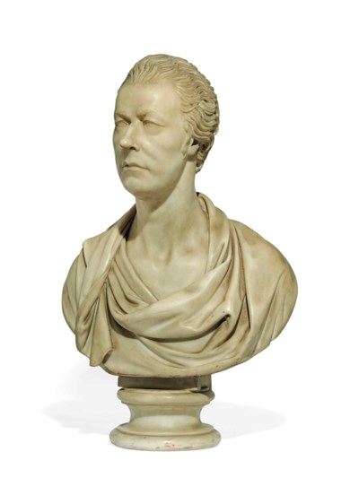 A CARVED MARBLE BUST OF WILLIA