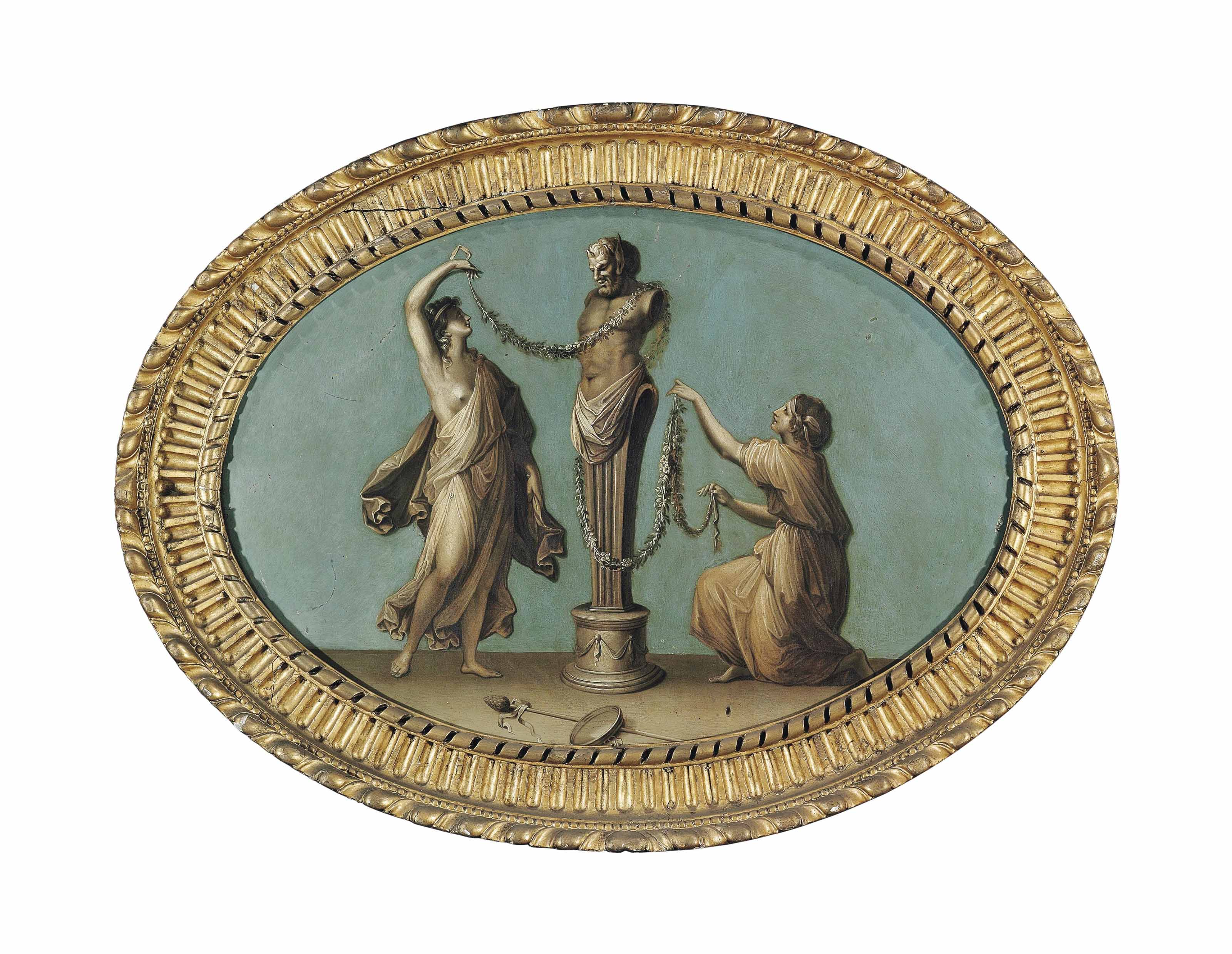 Maidens decorating a herm of Pan - en grisaille