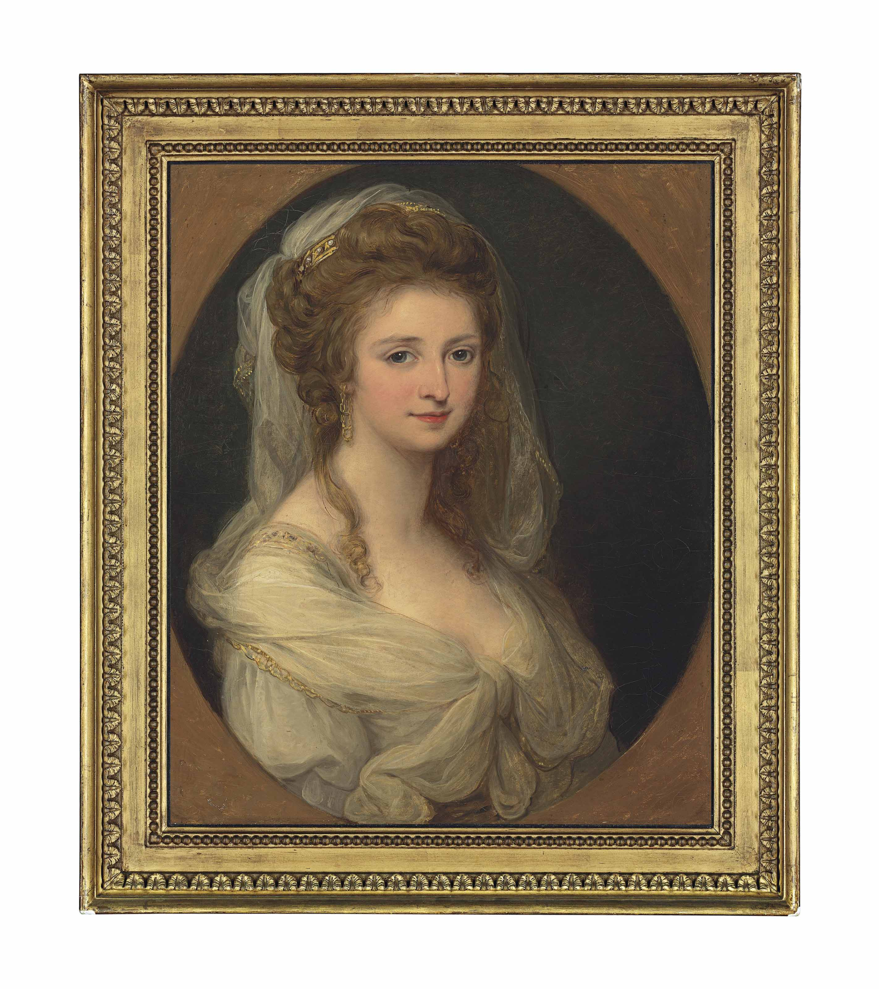 Portrait of Countess Lucia Memmo Mocenigo (1770-1854), half-length, in a white dress and shawl, in a feigned oval