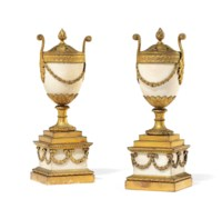 A PAIR OF GEORGE III ORMOLU AND WHITE MARBLE PERFUME-BURNERS