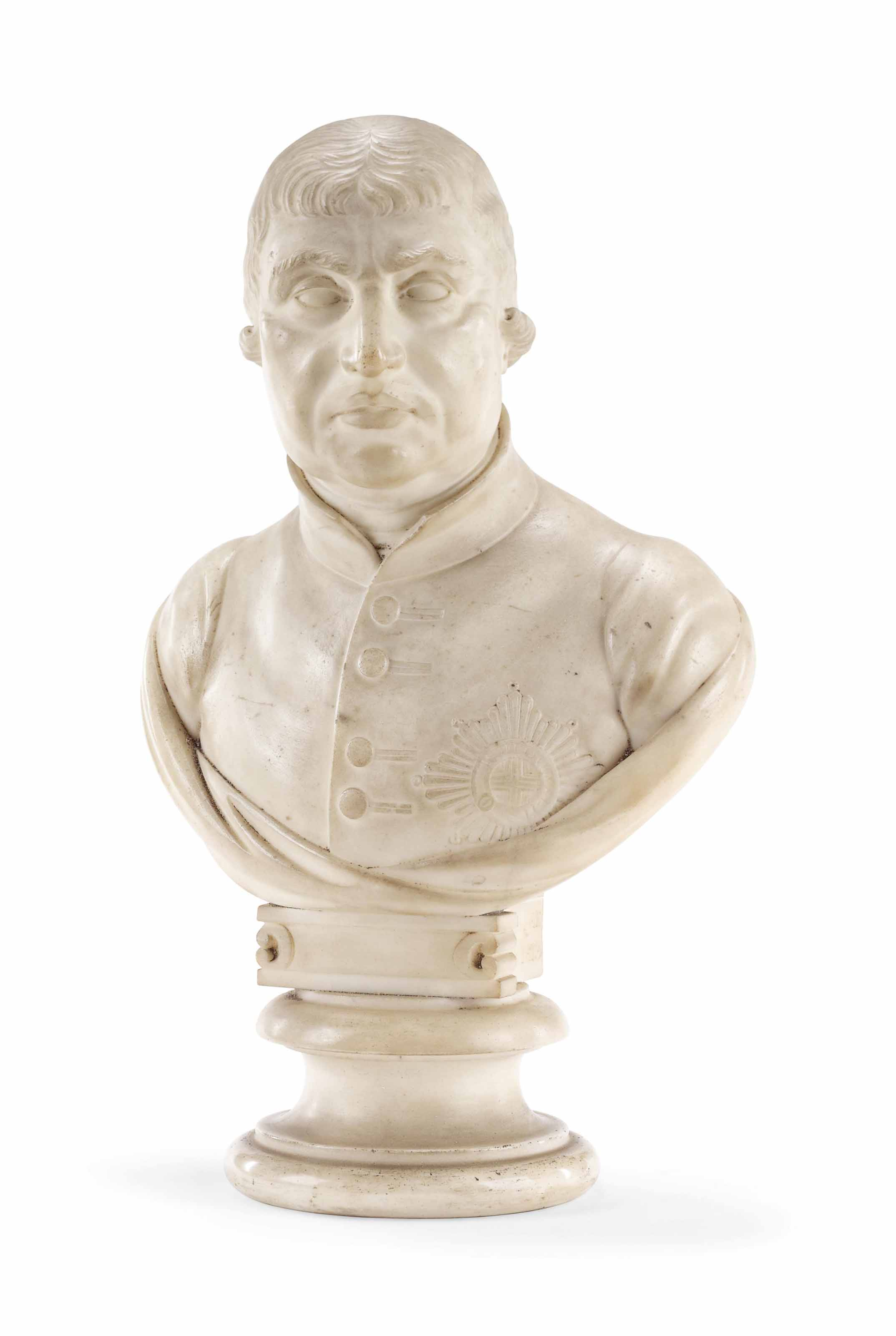 A CARVED MARBLE BUST OF GEORGE III