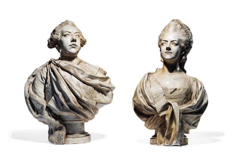 A pair of white-painted plaster busts of William V of Holland and Wilhelmina of Prussia, workshop of Marie-Anne Collot (1748-1821), late 18th century. 31 and 32½  in (79.2 and 82.5  cm) high, overall 	 (2). Sold for £10,625 on 18-19 September 2013  at Christie's in London