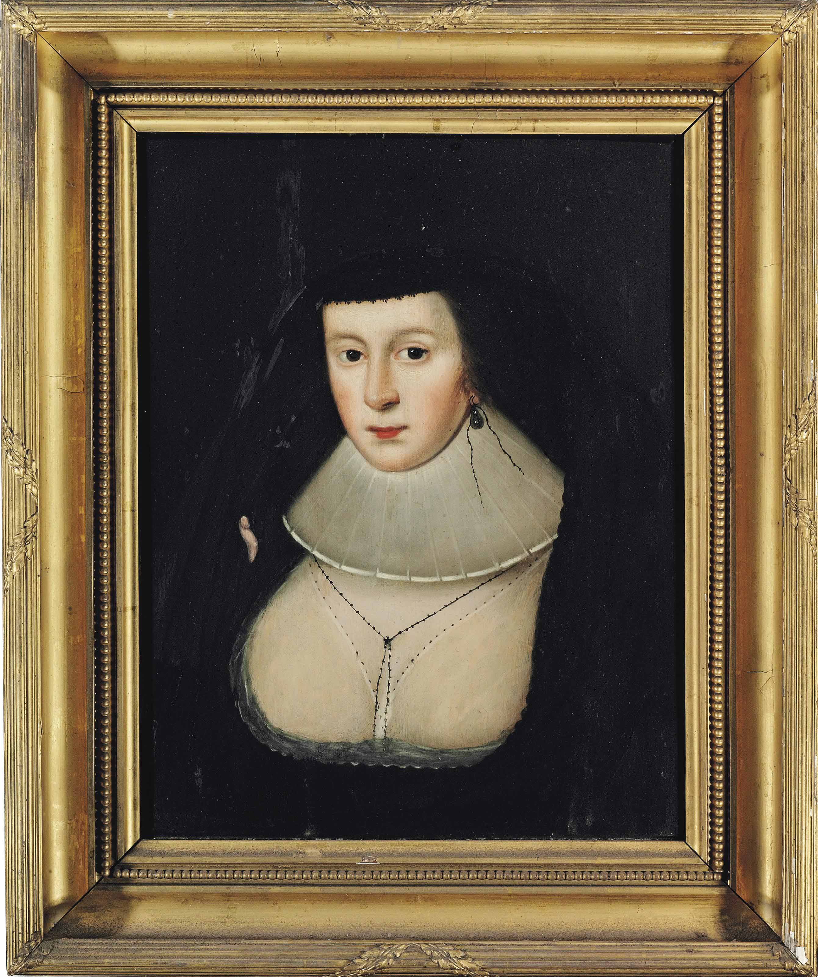 Portrait of a lady, traditionally identified as Mary, Queen of Scots (1542-1587), bust-length, in a black dress and white ruff, with a black veil and an earring