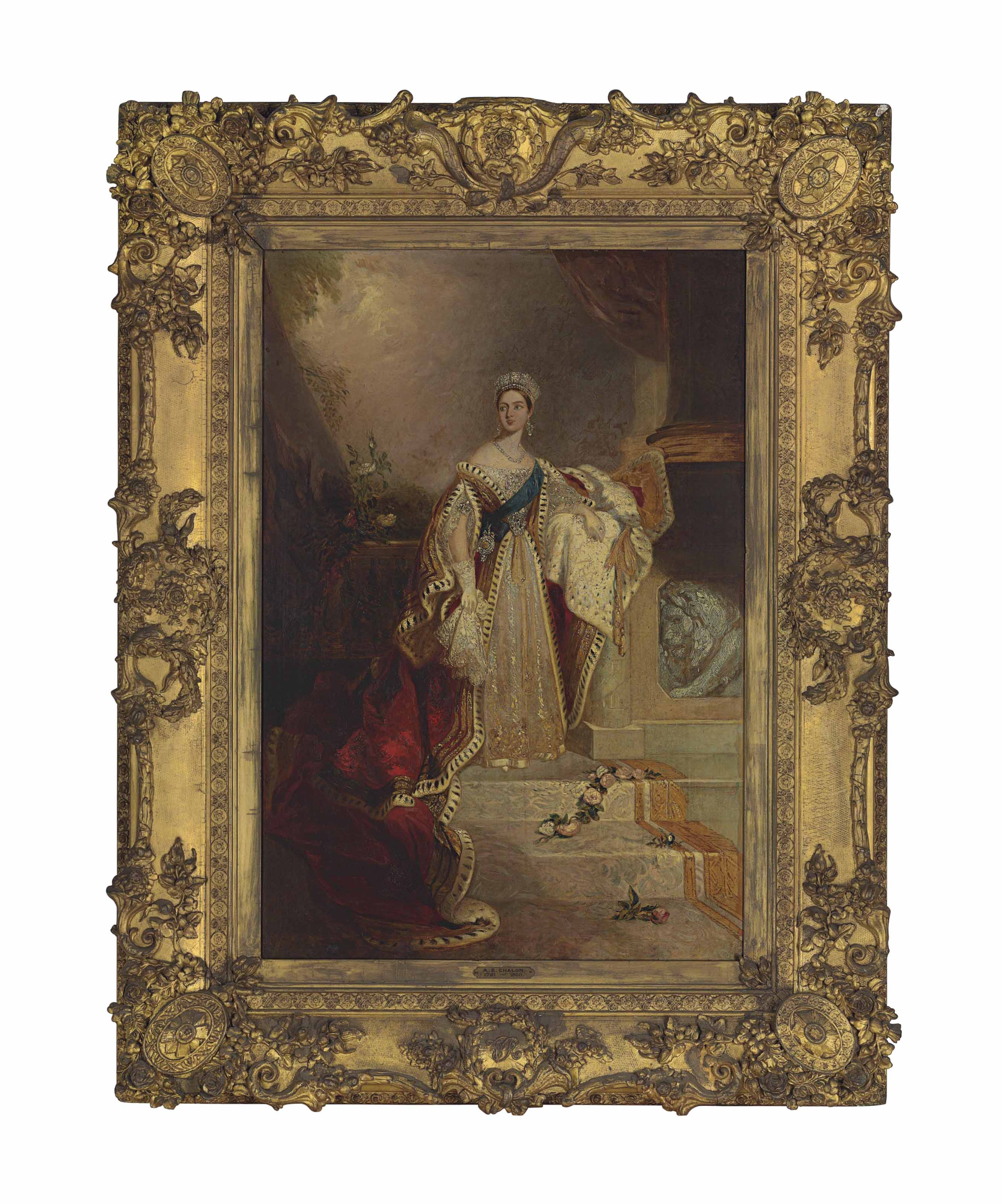Portrait of Queen Victoria, standing small full-length, in Coronation robes beside a balustrade