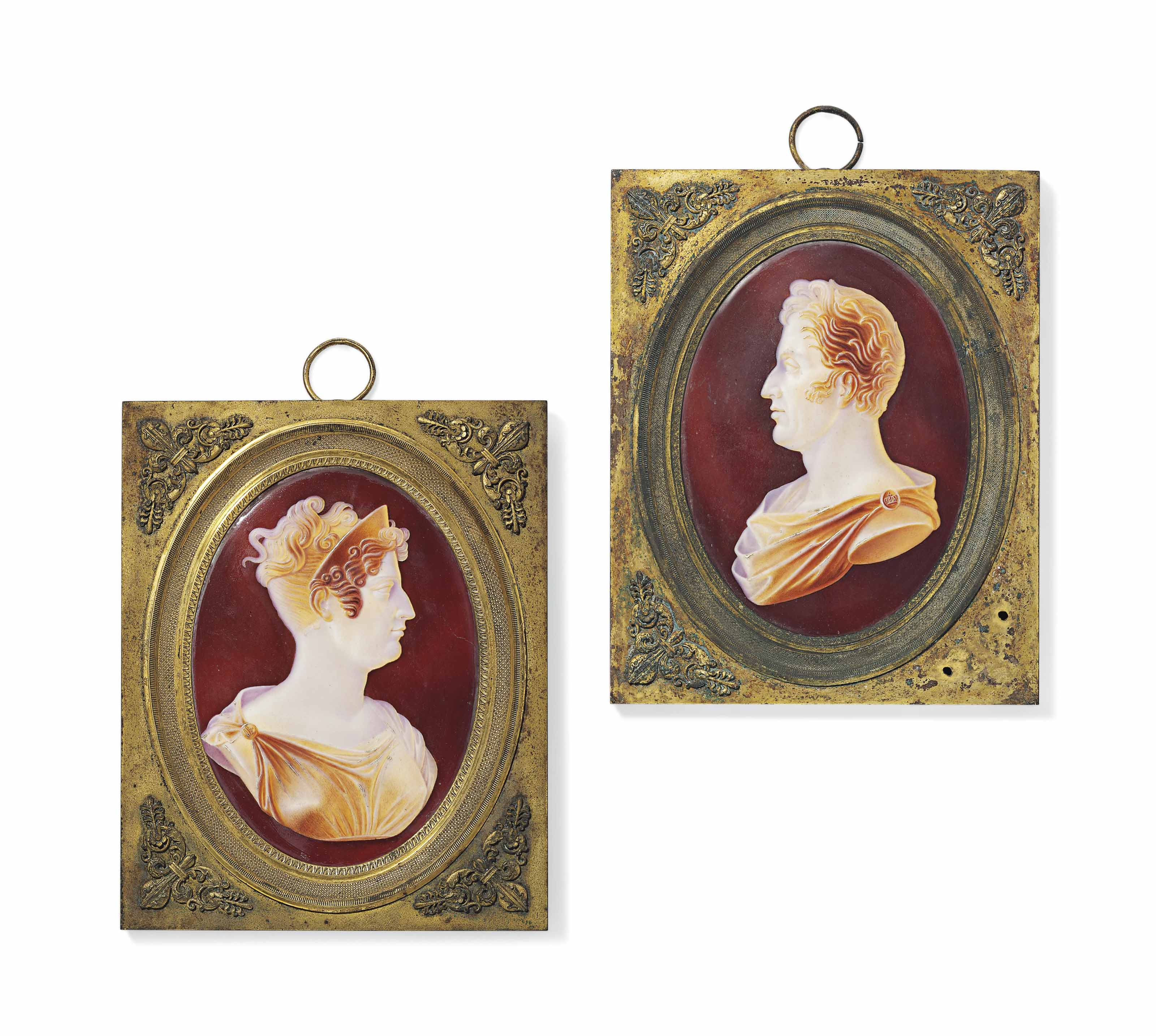 A PAIR OF SEVRES ORMOLU-MOUNTED OVAL PORTRAIT PLAQUES OF CHARLES X AND MARIE THERESE OF FRANCE