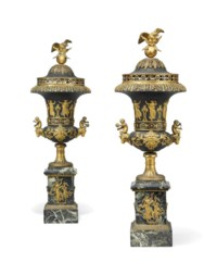 A PAIR OF EMPIRE BRONZE, ORMOLU AND VERDE ANTICO CAMPANA URN BRULES-PARFUM
