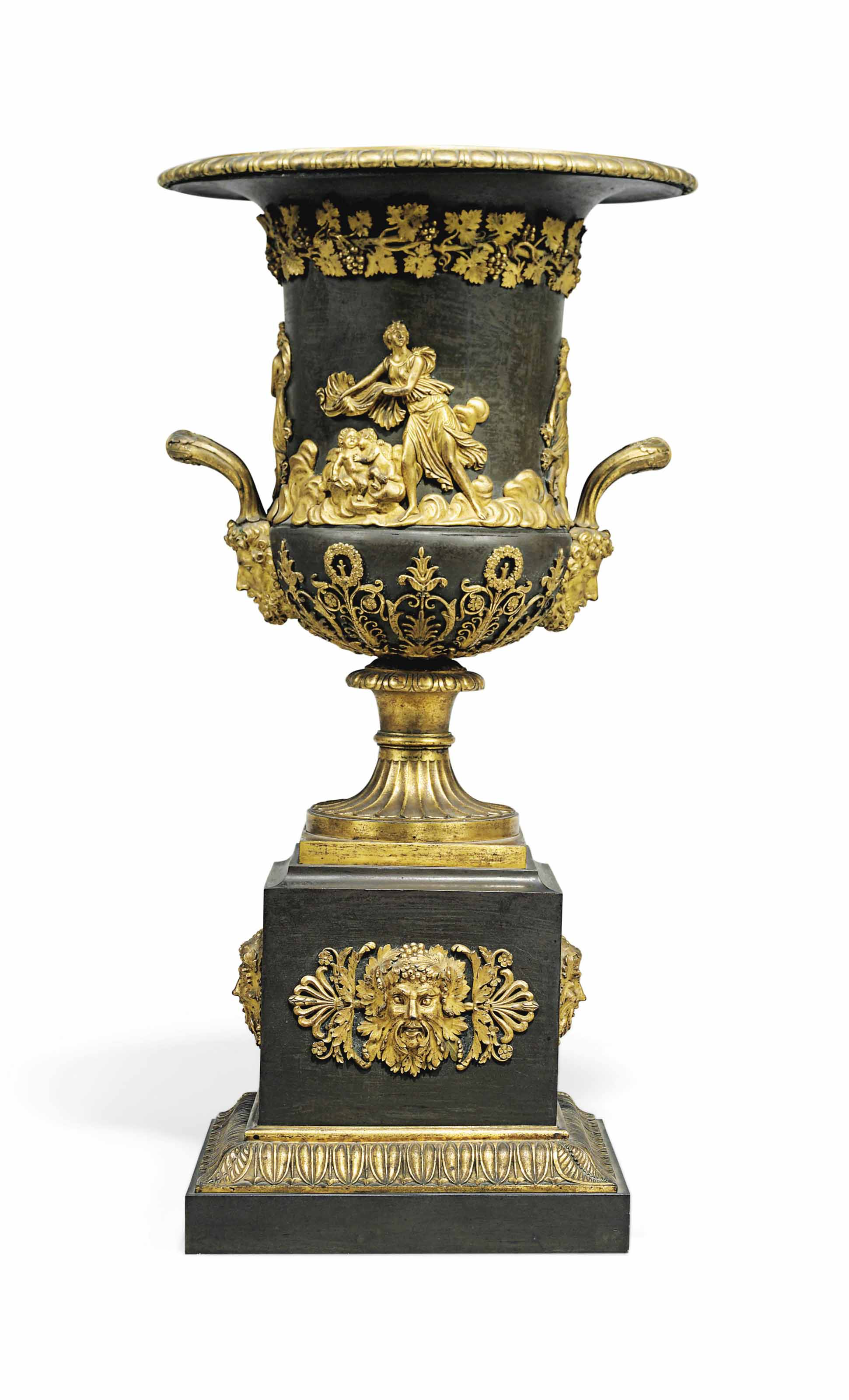 AN EMPIRE BRONZE AND ORMOLU CAMPANA URN