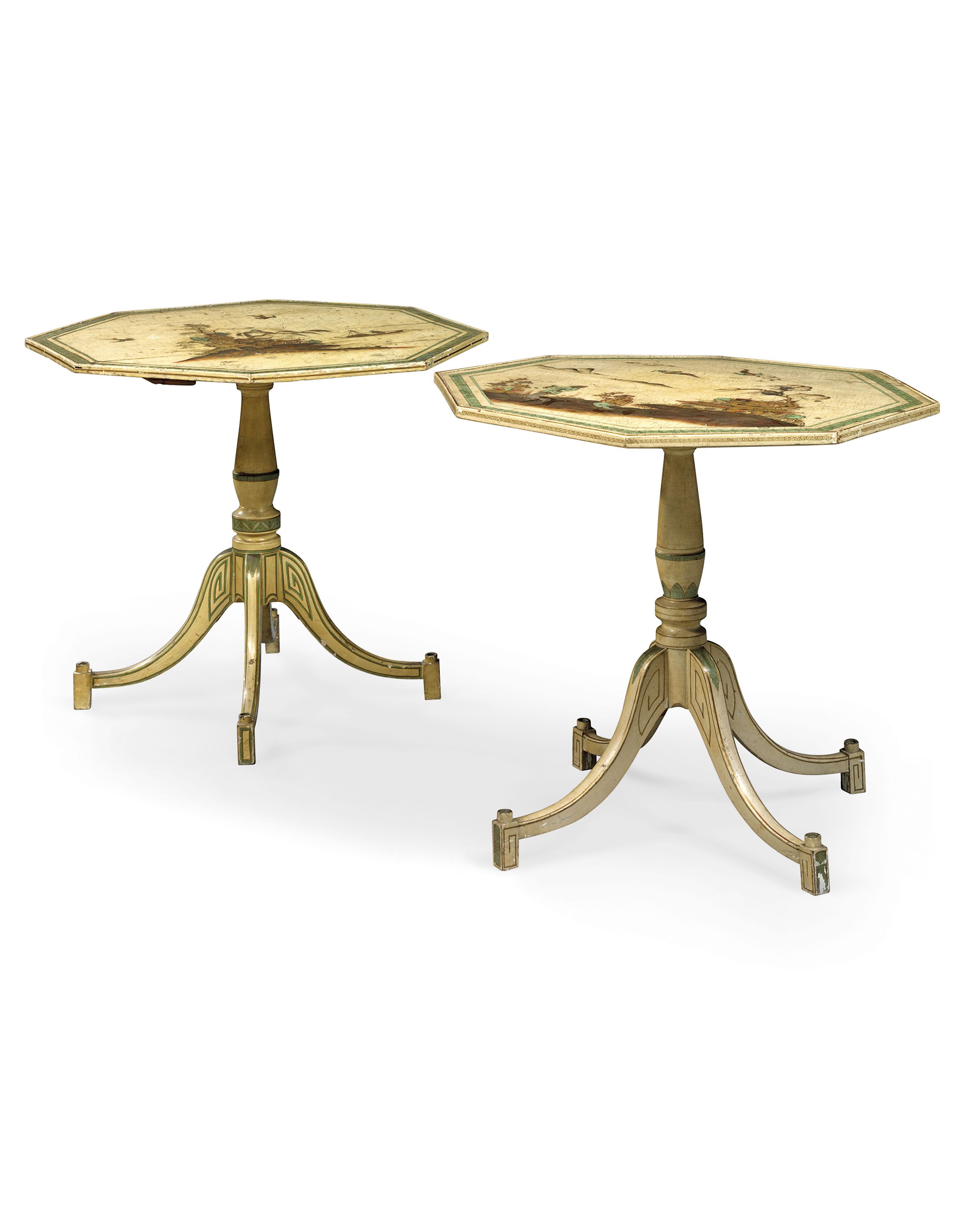 A NEAR PAIR OF LATE GEORGE III PARCEL-GILT POLYCHROME-JAPANNED WHITE-PAINTED OCCASIONAL TABLES