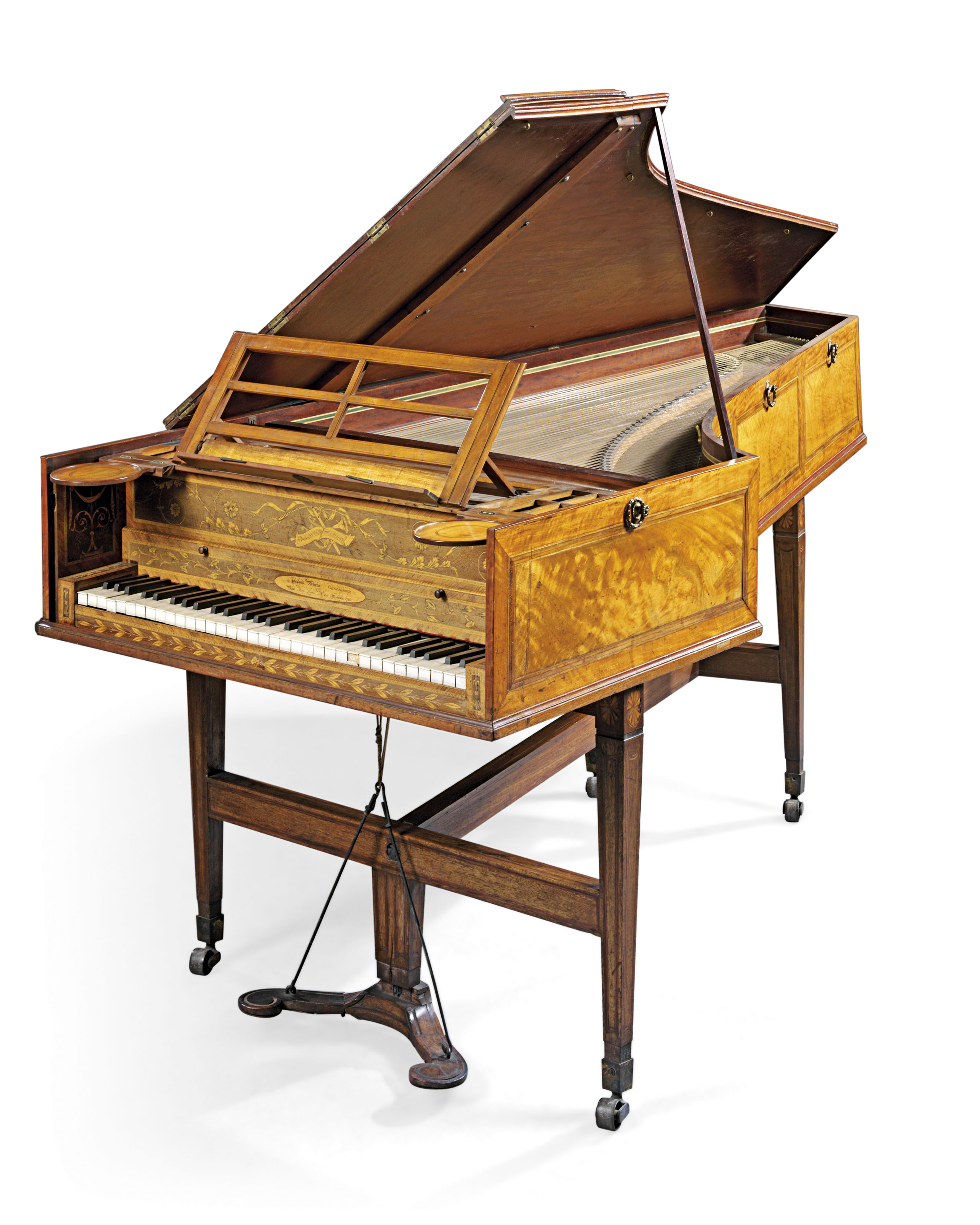 A GEORGE III HOLLY AND WENGE-INLAID, SATINWOOD AND TULIPWOOD-CROSSBANDED MAHOGANY GRAND PIANO WITH IVORY AND EBONY KEY COVERINGS INCORPORATING MERLIN'S PATENT 'FOUR UNISON' STRINGING AND DOWN-STRIKING ACTION