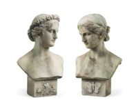A PAIR OF CARVED MARBLE BUSTS OF FLORA AND PSYCHE