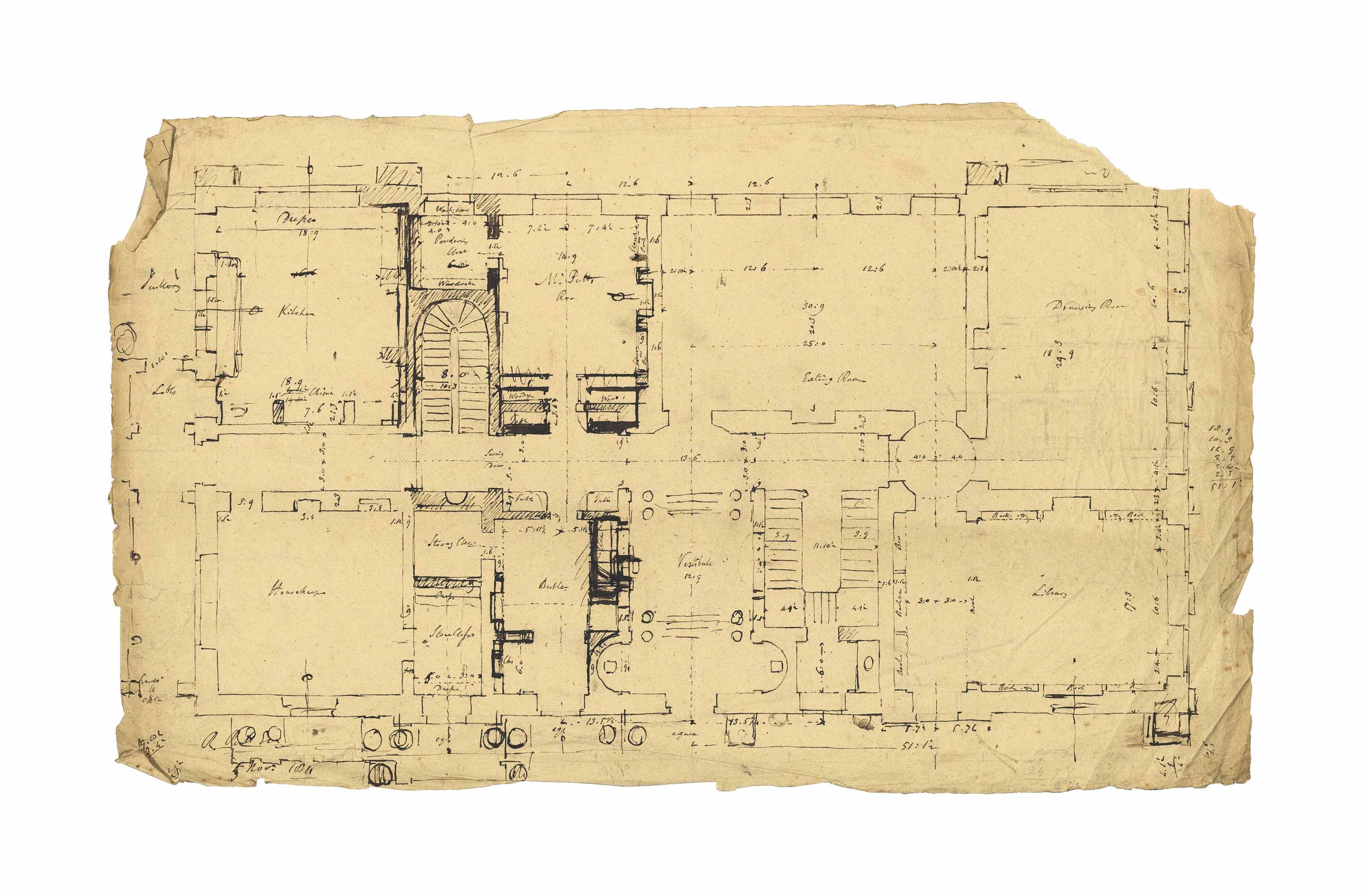 Plans relating to William Pitt's Holwood House, Kent