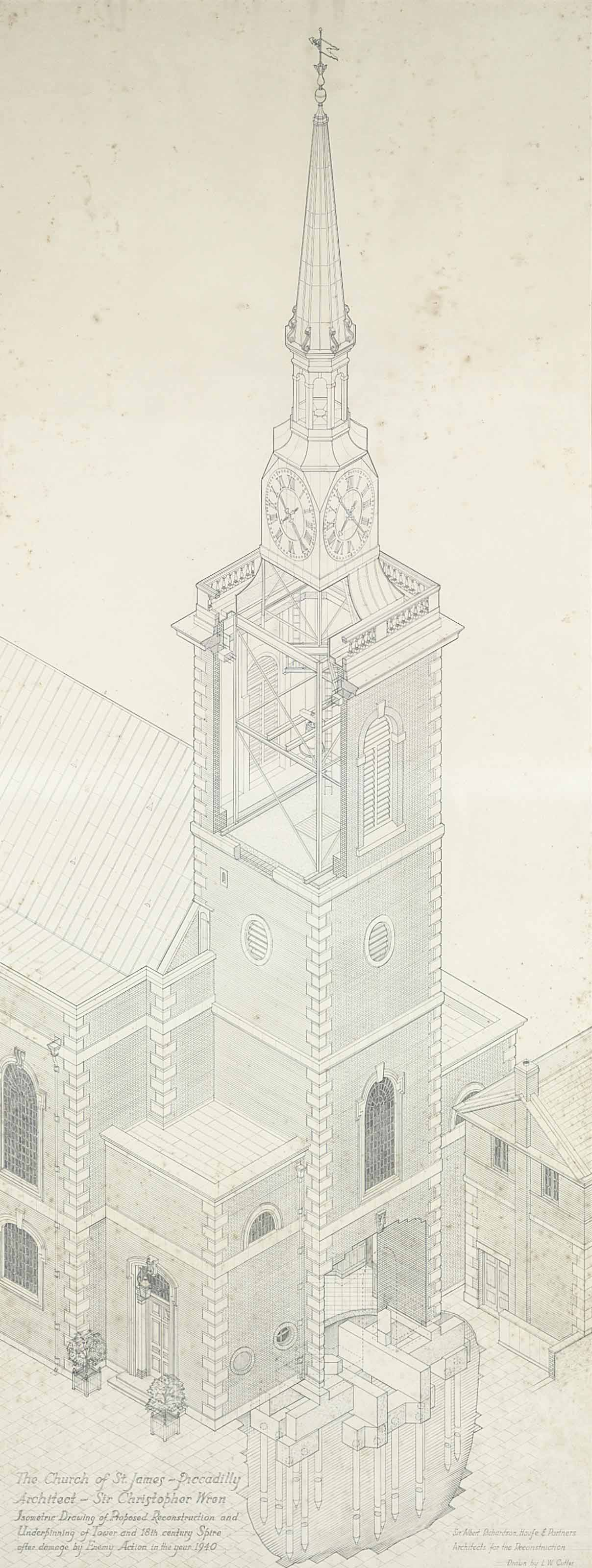 Design for the Restoration of the Church of St. James's Piccadilly after war damage in 1940
