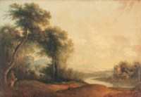 A wooded river landscape with a drover and his herd at rest, ruins beyond