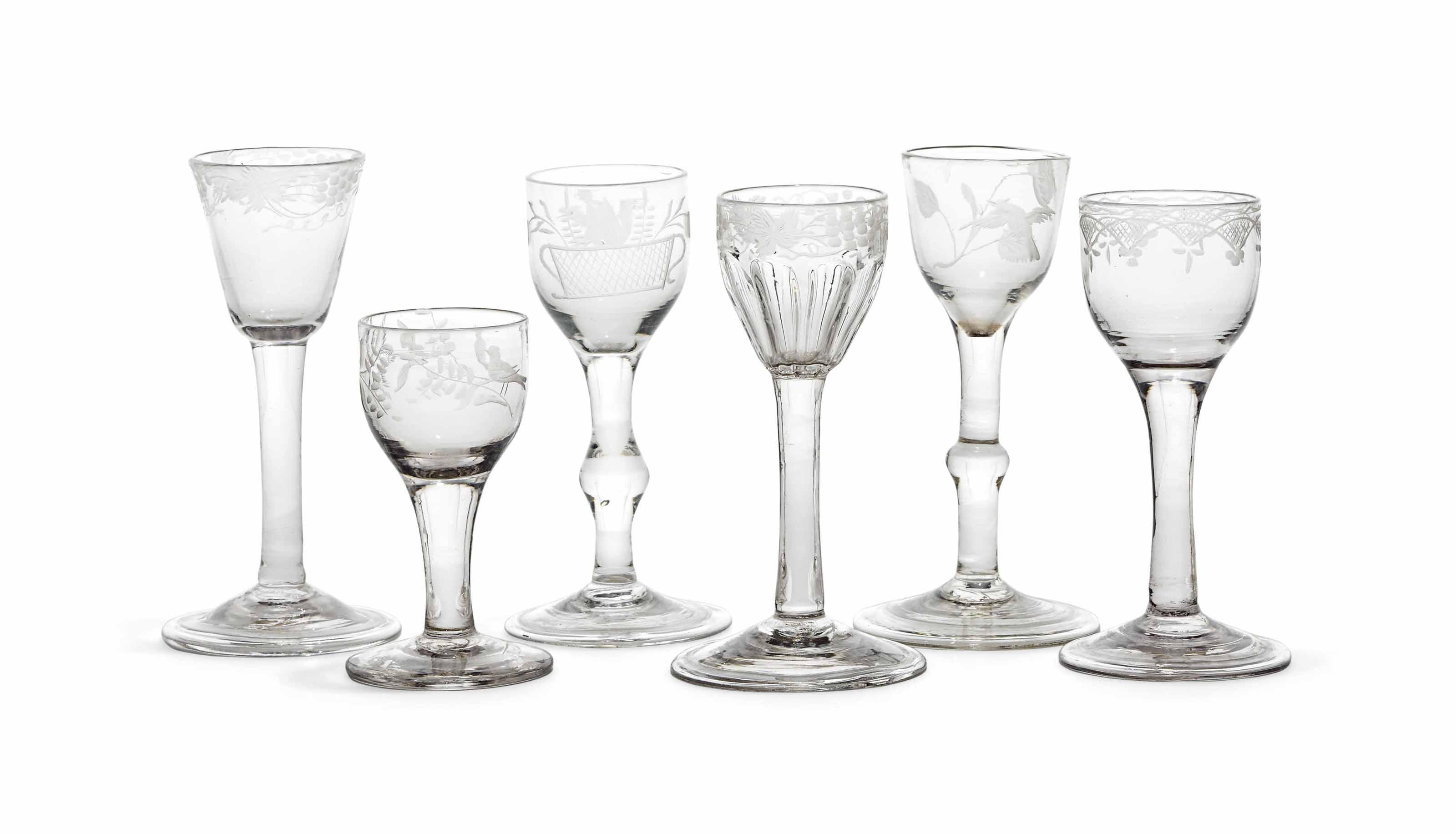 SIX ENGRAVED WINE-GLASSES
