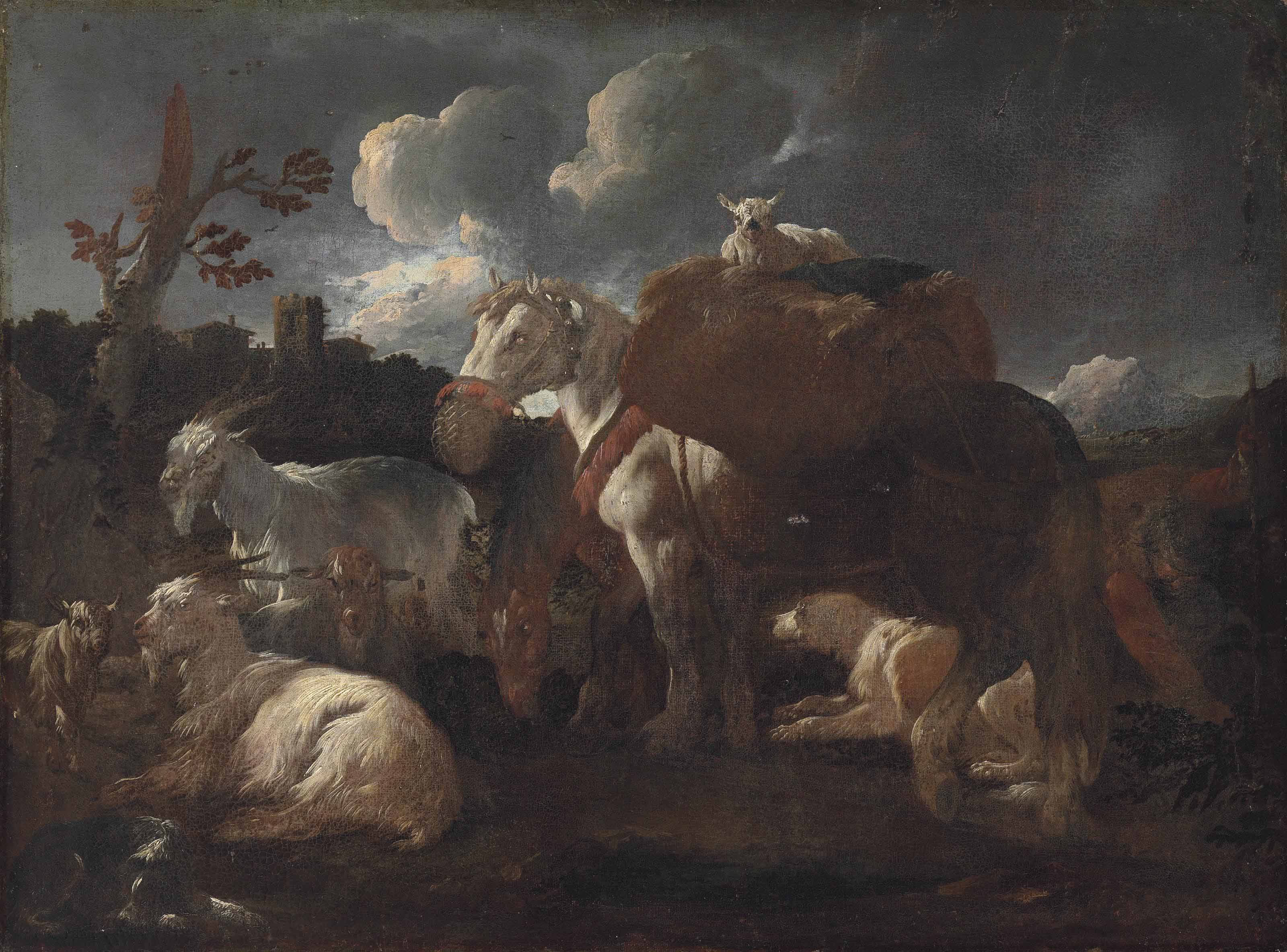 A goatherd with his flock and horse in a landscape