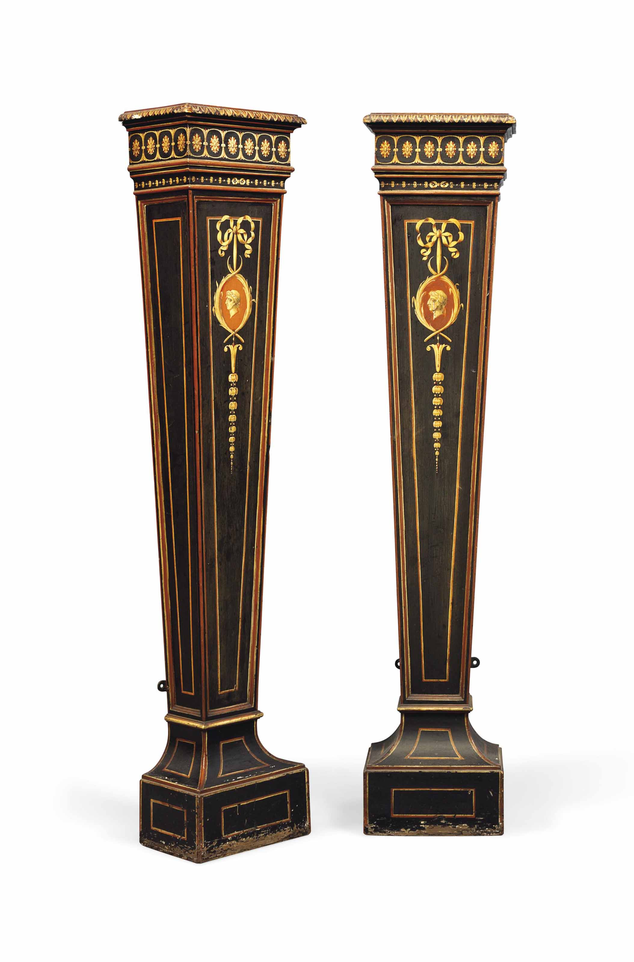 A PAIR OF GEORGE III POLYCHROME AND BLACK-PAINTED PEDESTALS