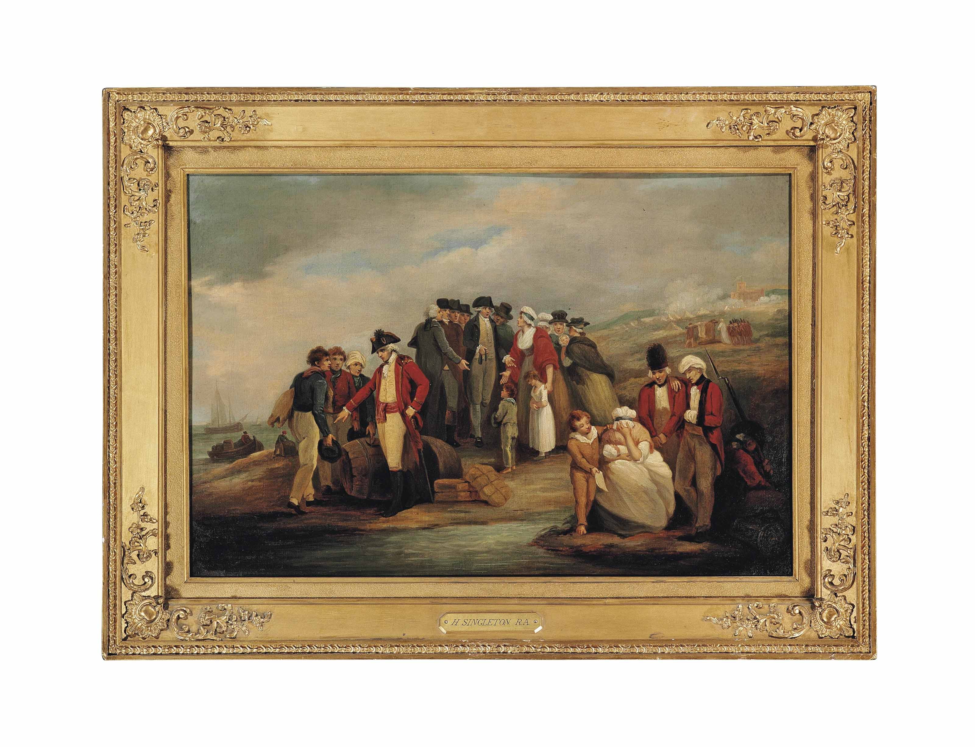 Infantry officers and elegantly-dressed gentlemen with women and children on a beach, other figures loading boats on the shore, a battle by a fort beyond