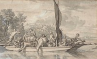 A group of figures and livestock on a ferry