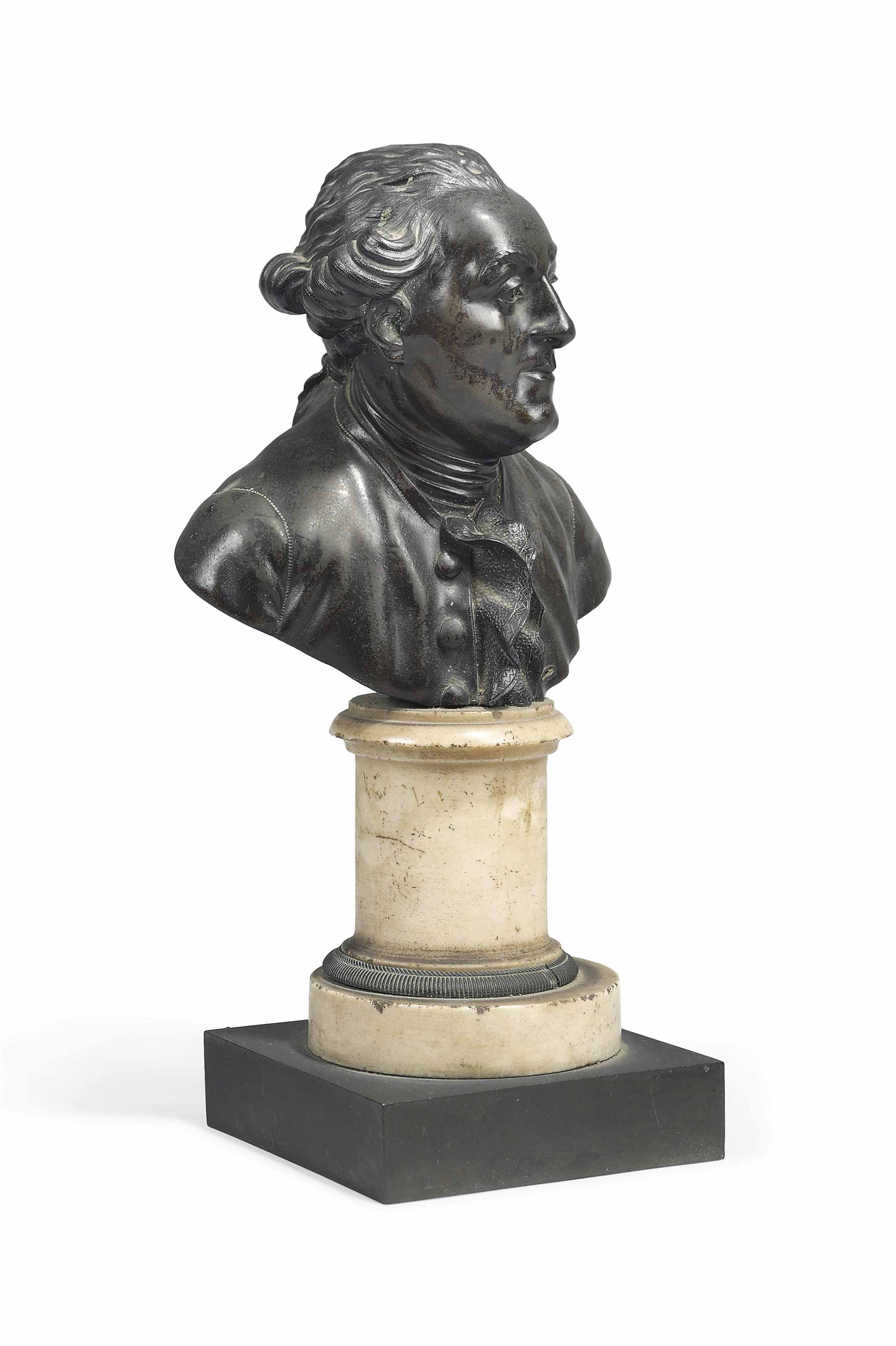 A BRONZE BUST OF A BEWIGGED GENTLEMAN, POSSIBLY LOUIS XVI