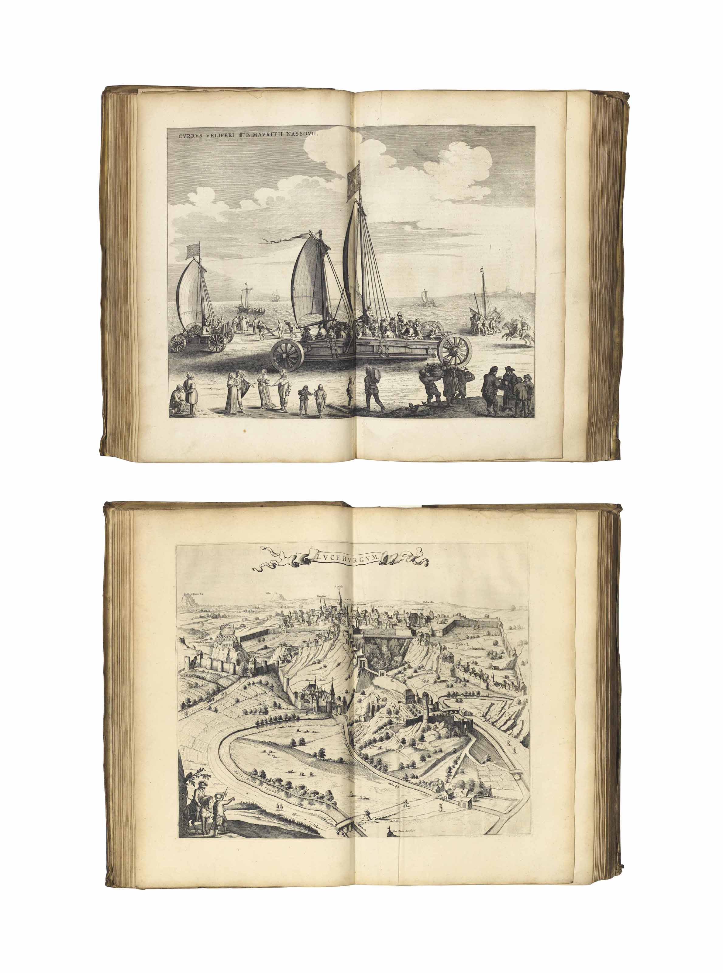 BLAEU, Joan (1596-1673). Novum ac Magnum Theatrum Urbiium Belgicae Foederate [-- Regiae]. Amsterdam: Johannes Blaeu [1652]. 2 volumes, 2° (552 x 356mm). Text in Latin. Engraved armorial titles with letterpress labels, 225 engraved maps, views and plans, one of these folding, and the majority double-page. (Some maps with tear at the fold not reaching the image, occasional faint mostly marginal dampstain, some light creasing, short marginal wormtrack in a few text leaves, light marginal soiling.) Contemporary vellum panelled in gilt with central lozenge (sides bowing, one joint starting at the head, lacking cloth ties, some soiling, volume 2 without the rear free endpaper).