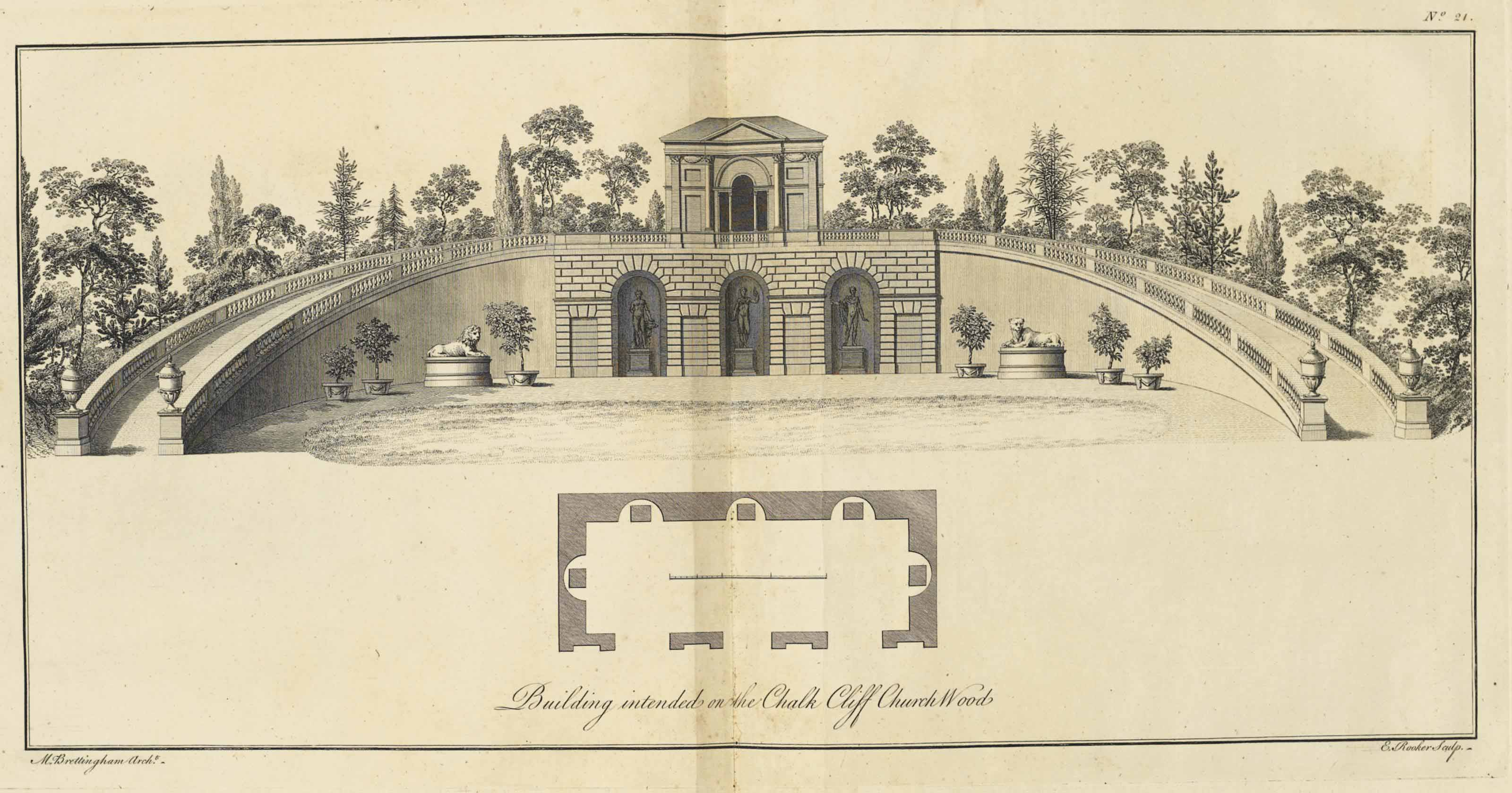 BRETTINGHAM, Matthew (1699-1769). The Plans, Elevations and Sections, of Holkham in Norfolk, the seat of the late Earl of Leicester. London: J. Haberkorn, 1761. 2° (508 x 364mm). 27 engraved plates by T. Miller and others after Brettingham, 5 double-page, 2 folding. (Marginal water-staining, light dust-soiling, short tear to preface leaf.) Contemporary half sheep over marbled boards, speckled edges (extremities worn). Provenance: The Earls of Portarlington (Emo Park bookplate).