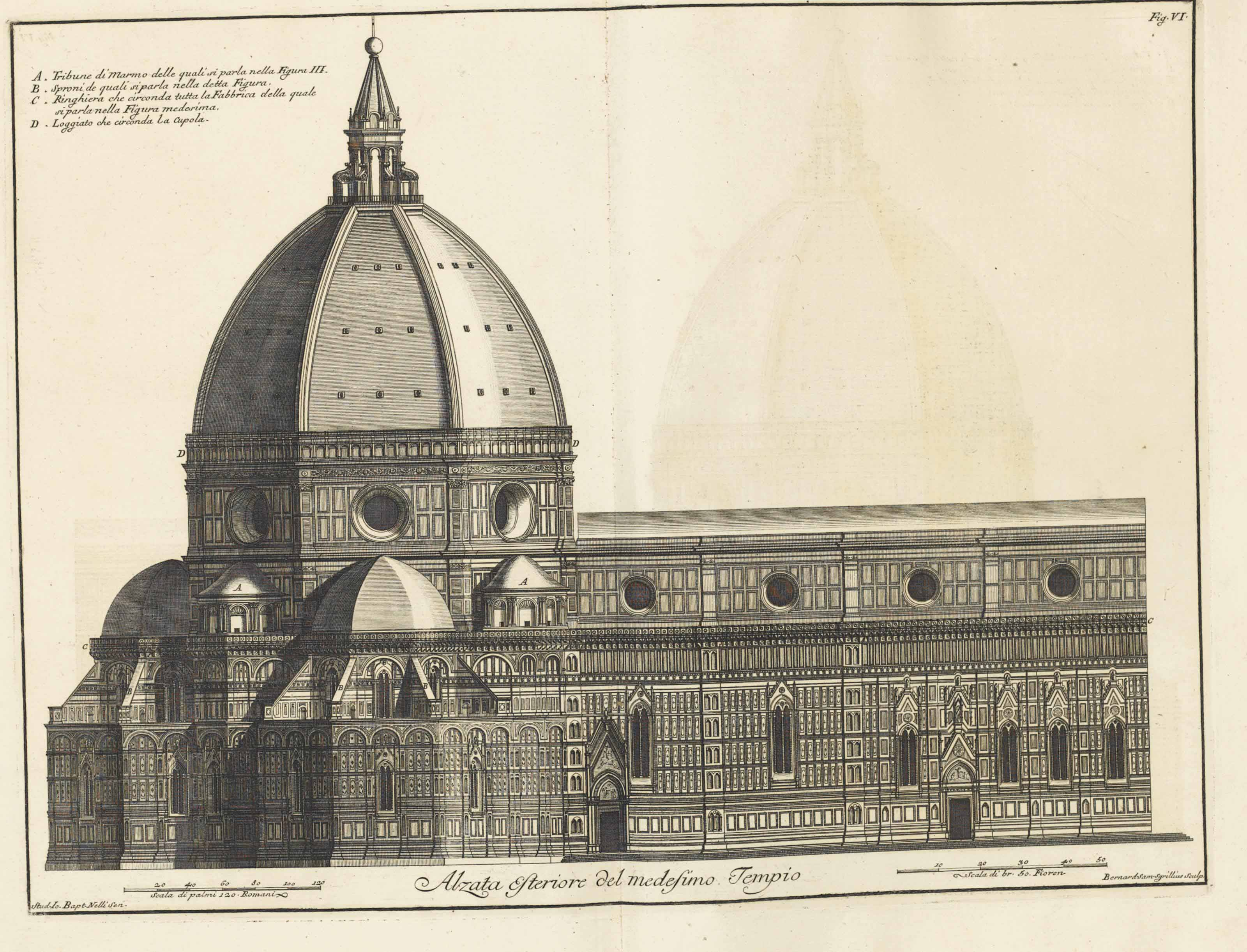 RUGGIERI, Ferdinando (c. 1691-1741). Scelta di architetture antiche e moderne della citta di Firenze. Florence: Jean Bouchard, 1755. 4 volumes, 2° (491 x 386 mm). With the small cancel slip pasted in the dedication correcting the publisher's name. Titles with etched vignettes, 4 additional engraved titles, engraved folding plan of Florence, and 282 engraved plates, some of these double-page.  (Volume 4 part 1 lacking additional engraved title but probably as issued, one plate in vol. 4 with the margin renewed at an early date, occasional marginal dampstain, some soiling to deckle edges.) Contemporary vellum, gilt spine labels (some soiling and staining, labels worn, extremities rubbed, front hinge of vol. 1 split). Provenance: The Lord Holland, later Earls of Ilchester (Holland House engraved bookplate).