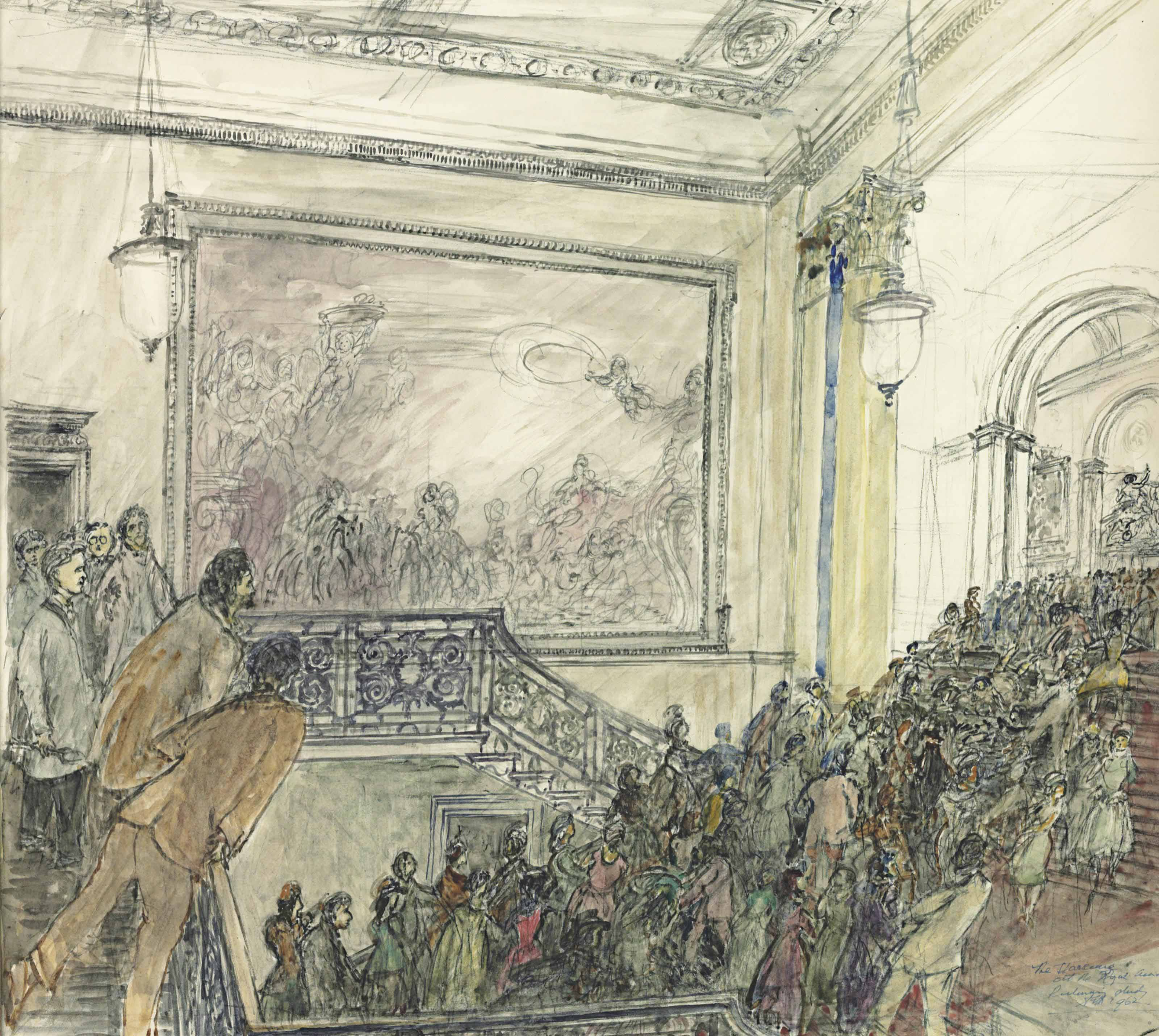 'The Starecase': The Royal Academy, a Private View, 1962