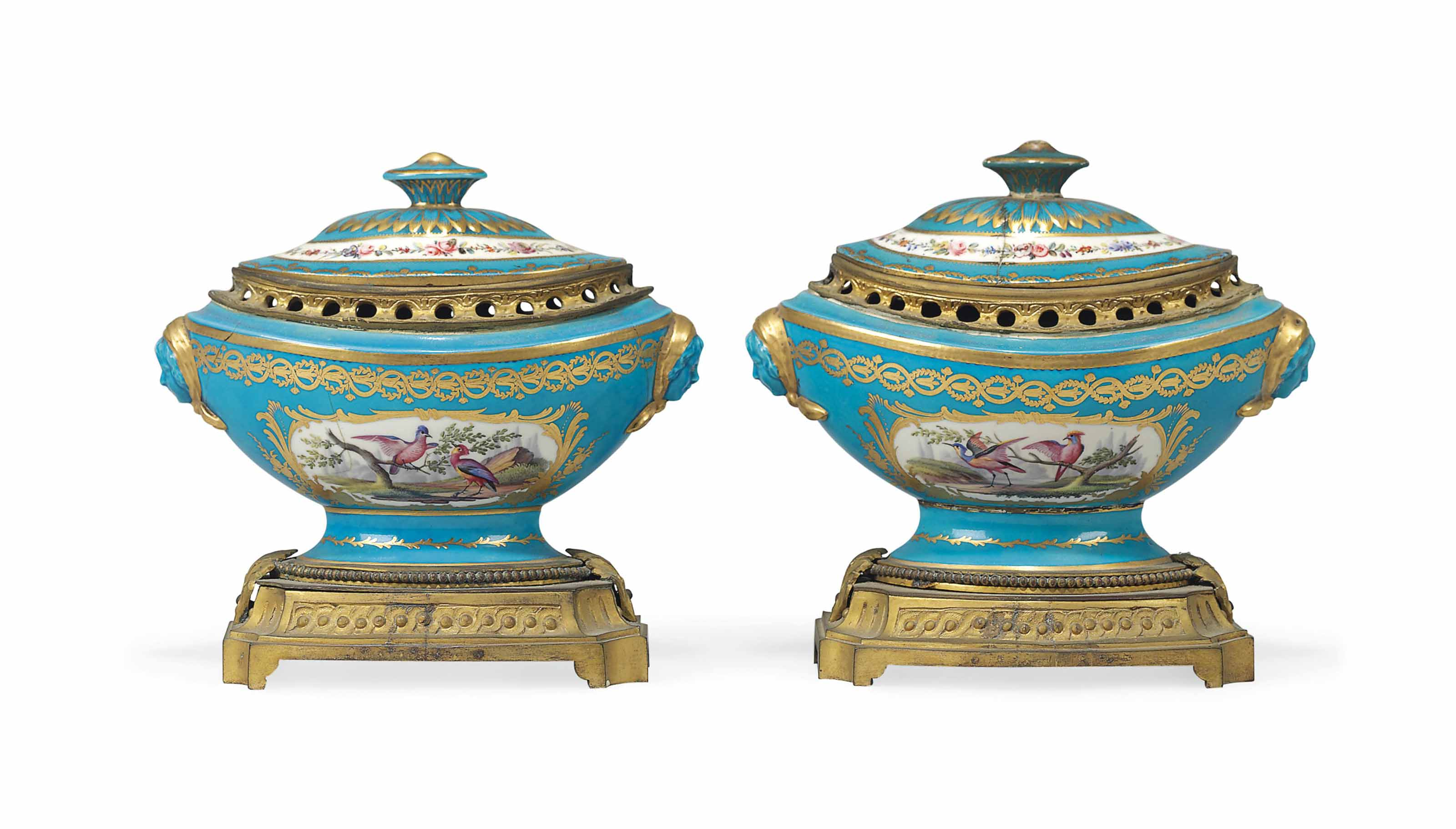 A PAIR OF ORMOLU-MOUNTED SEVRES-STYLE TURQUOISE-GROUND NAVETTE-SHAPED POT-POURRI VASES AND COVERS