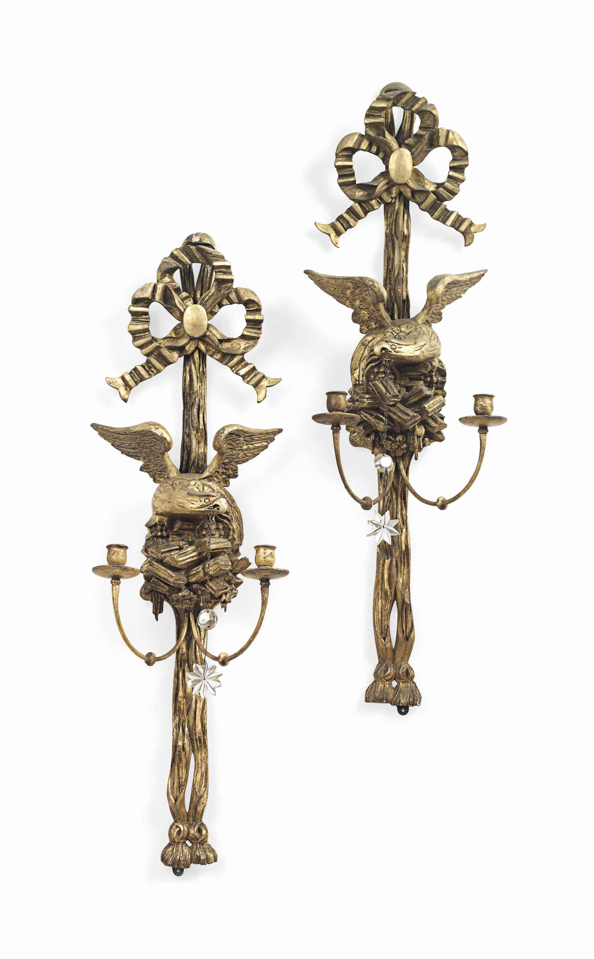 A PAIR OF REGENCY REVIVAL GILTWOOD TWO-LIGHT WALL-LIGHTS