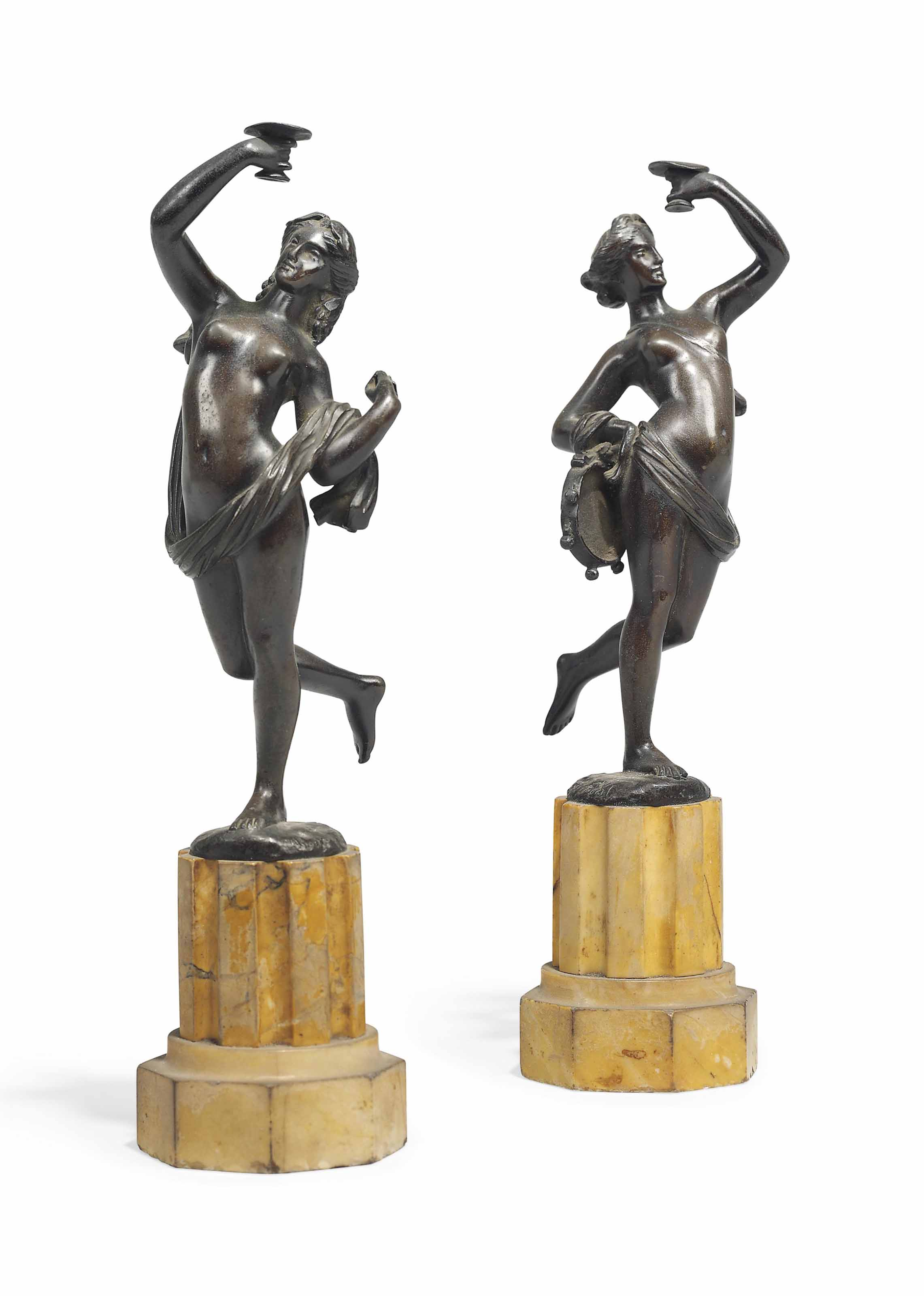 A PAIR OF BRONZE FIGURES OF DANCING NYMPHS