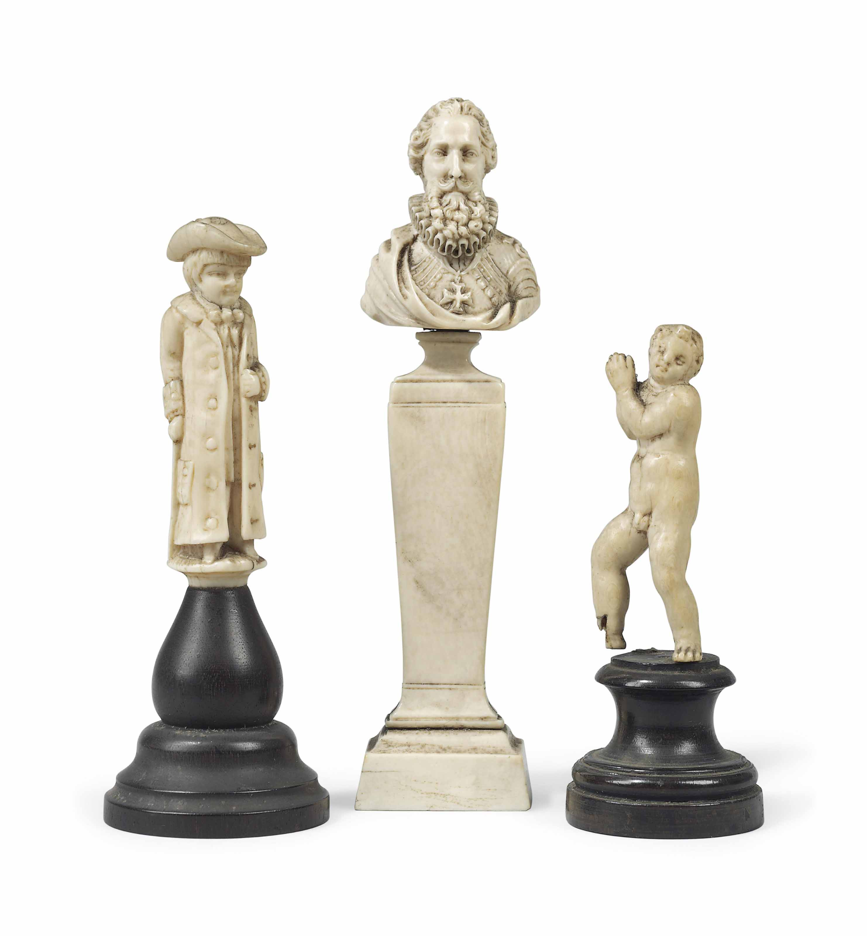 A GROUP OF THREE FRENCH IVORY FIGURES
