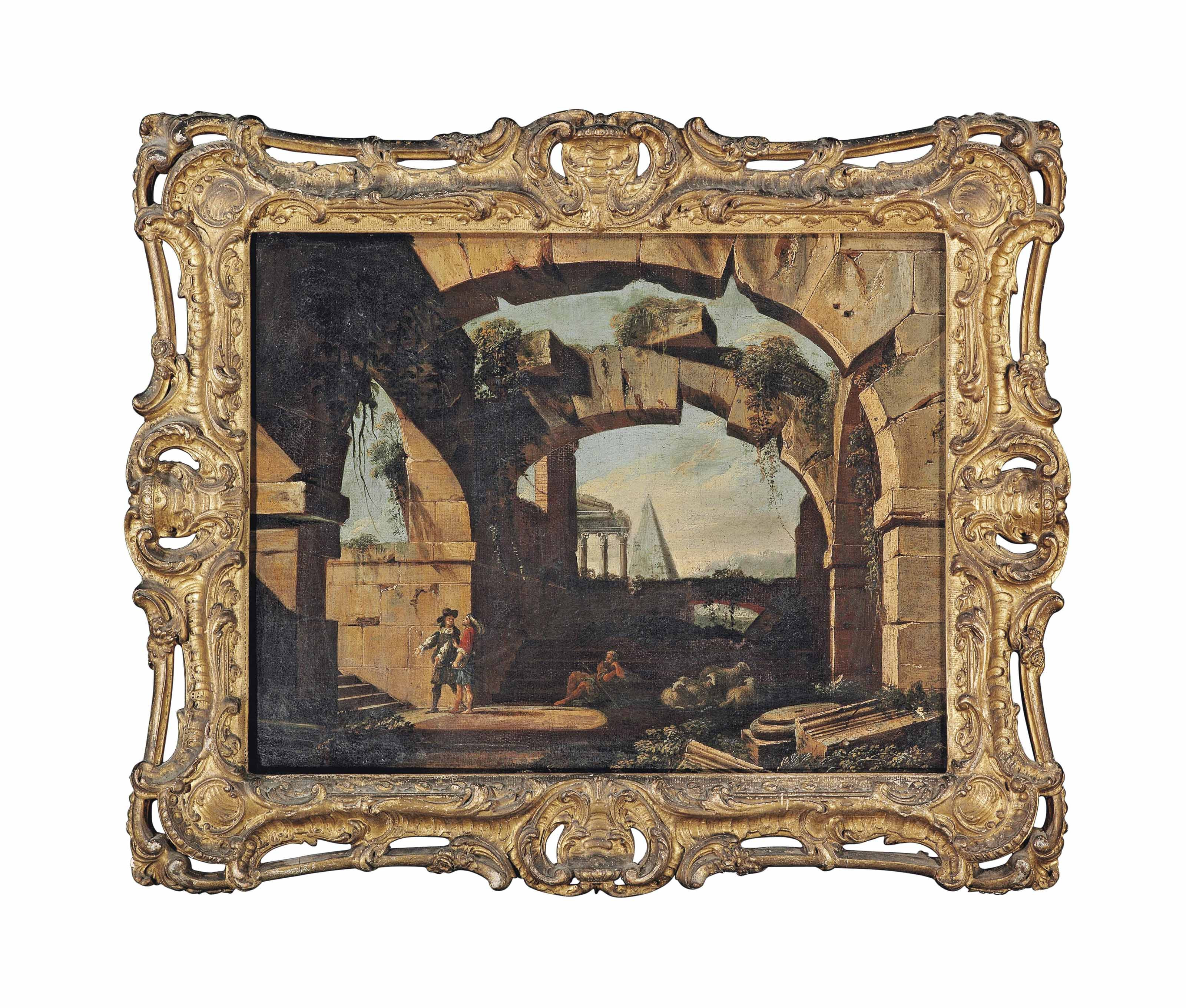 An architectural capriccio with figures beneath a ruined arch