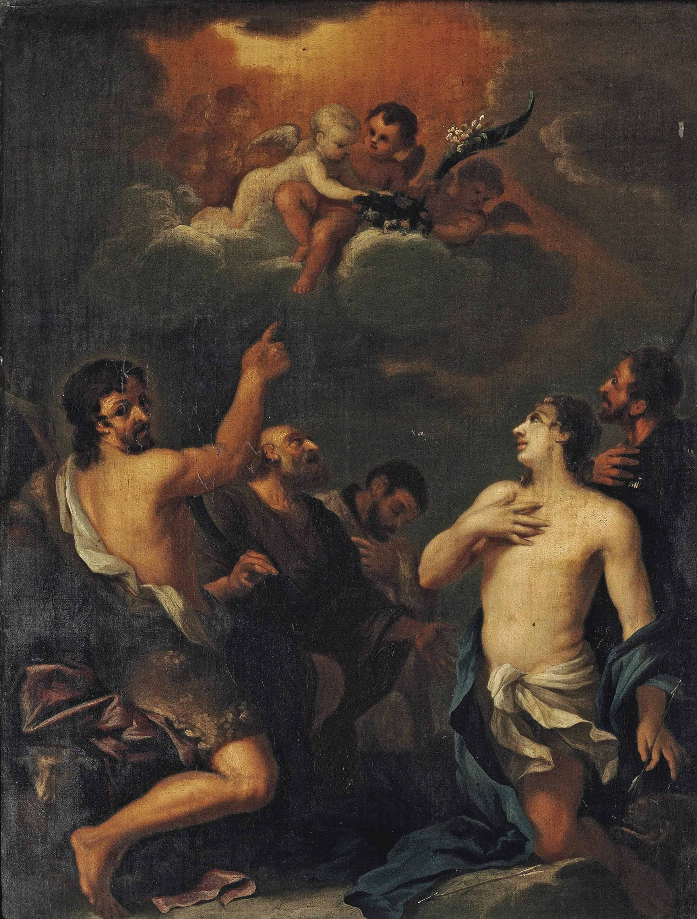 Saints John the Baptist, Sebastian, Roch and two other male saints, with putti