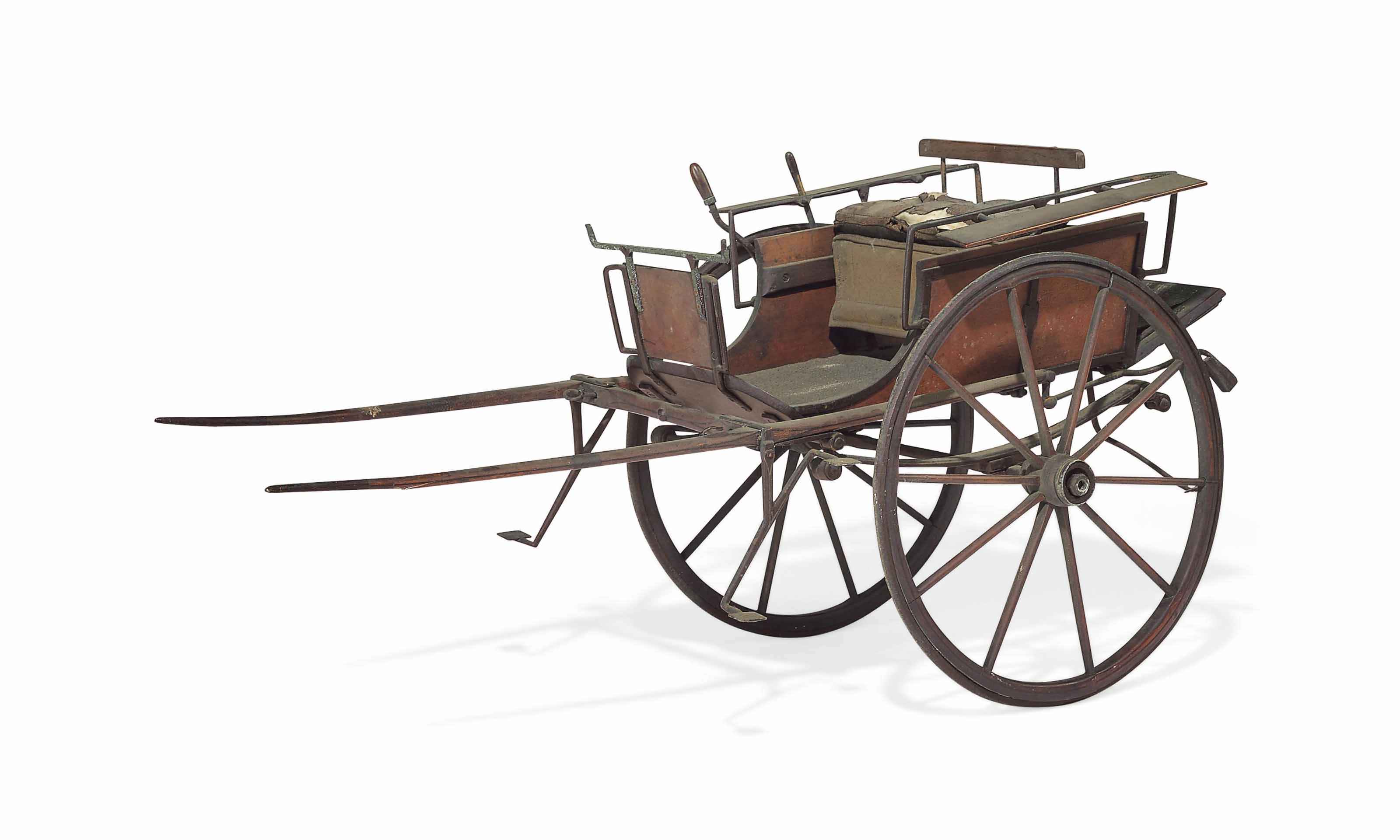 A VICTORIAN WROUGHT IRON-MOUNTED WALNUT SCALE MODEL OF A HORSE-TRAP