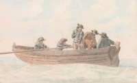 Figures in a rowing boat at Hastings