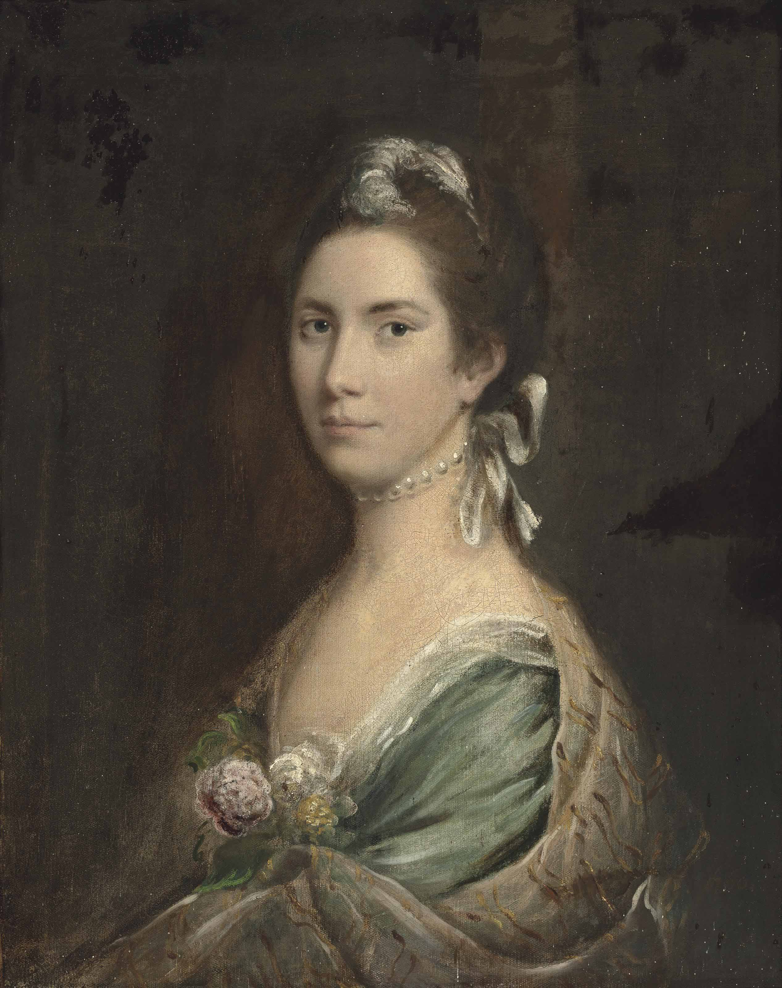 Portrait of a lady, thought to be Lady Elizabeth Levesson Gower, Countess Waldegrave (1724-1784), half-length, in a pale blue dress and pearl choker