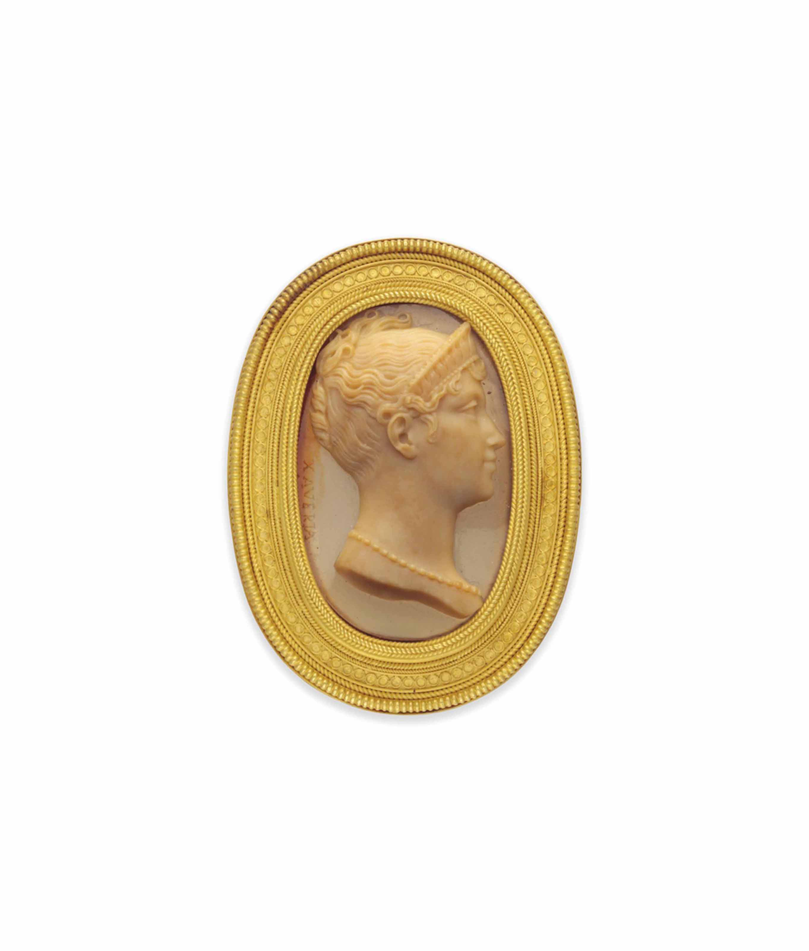 A 19TH CENTURY GOLD AND HARDSTONE CAMEO BROOCH, BY CASTELLANI