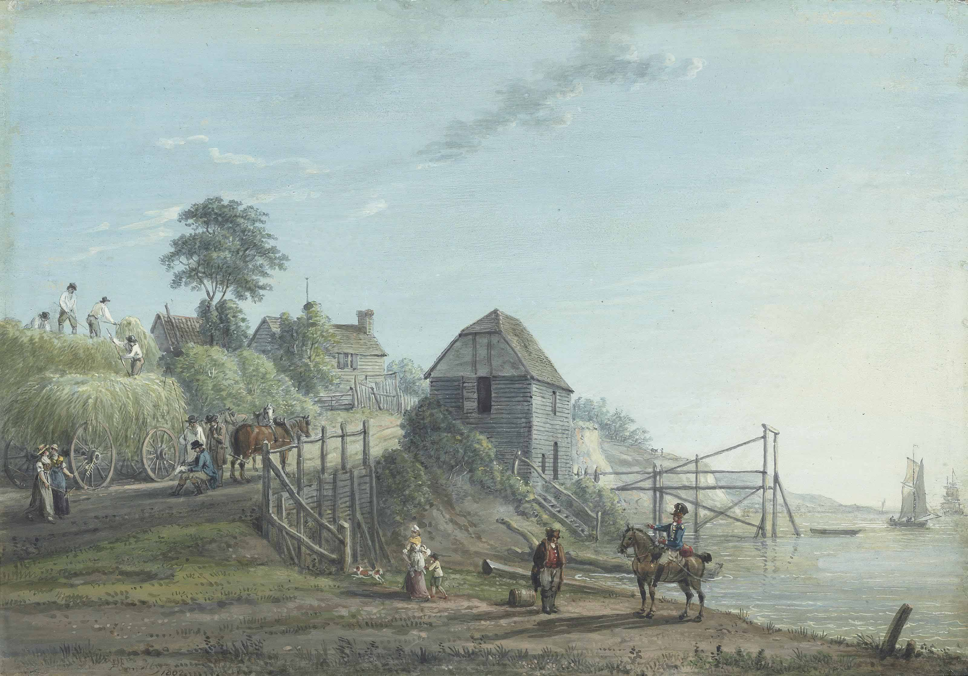 Haymakers with a harvest wagon on the Medway, Kent