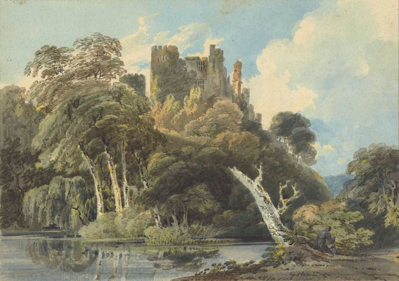 Thomas Girtin (London 1775-1802), Berry Pomeroy Castle, Devon. 10⅞ x 15¼ in (27.8 x 39 cm). Sold for £80,500 on 20 November 2013 at Christie's in London