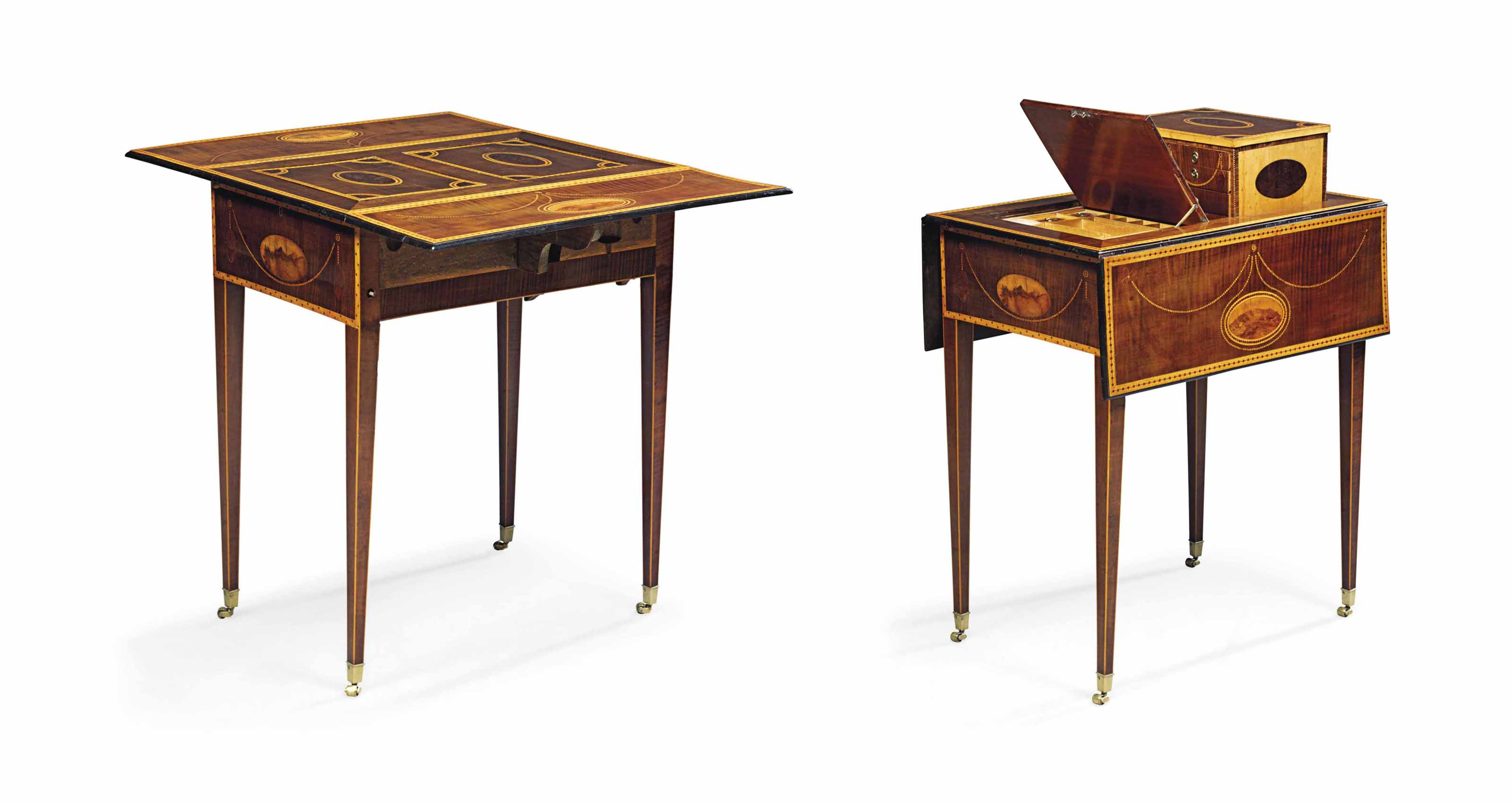 A GEORGE III HAREWOOD, BURR-YEWWOOD AND MARQUETRY METAMORPHIC PEMBROKE TABLE