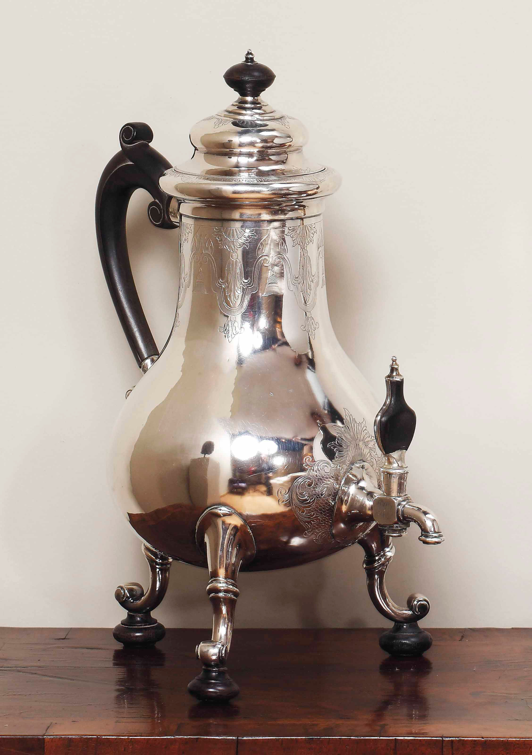 A DUTCH SILVER COFFEE-URN